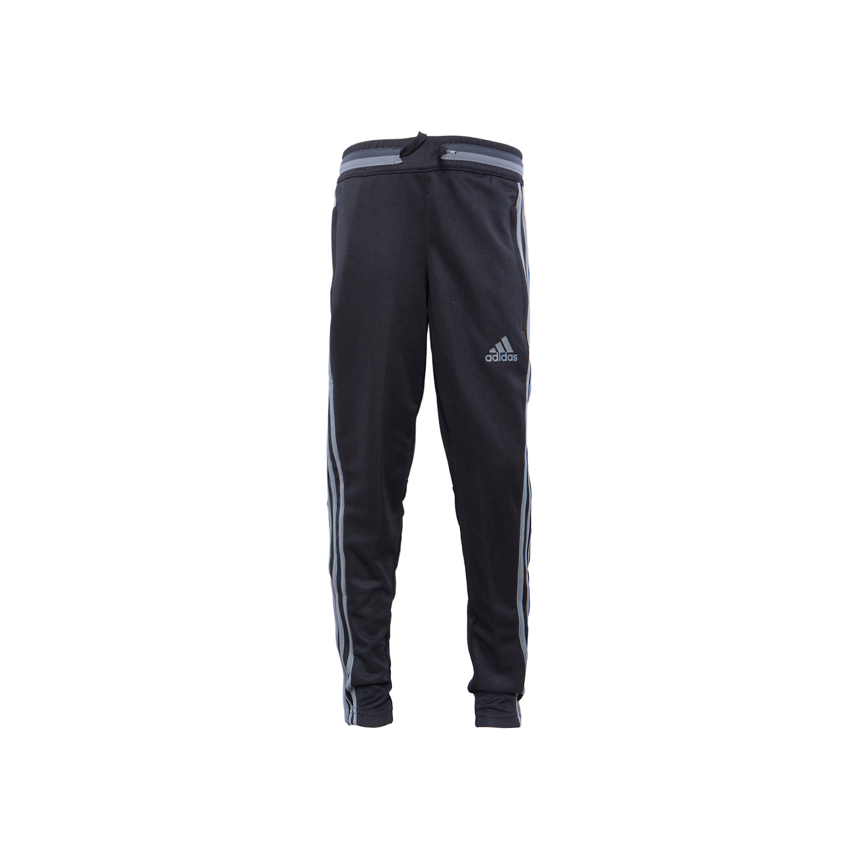 Трикотажные брюки adidasТрикотажные брюки Аdidas (Адидас).<br><br>Характеристики:<br><br>• цвет: темно-серый;<br>• состав: 100% полиэстер;<br>• Технология climacool® сохраняет приятные ощущения прохлады и свежести благодаря специальным сетчатым вставкам<br>• Передние карманы на молнии<br>• Эластичный пояс на регулируемых завязках-шнурках; <br>• сетчатые вставки под коленями для вентиляции; <br>• рифленые вставки на голенях; <br>• молнии на щиколотках<br>• Зауженный к низу крой<br><br>Трикотажные брюки от известного бренда Аdidas (Адидас)-эти удобные спортивные брюки отлично впишутся в гардероб  вашего ребенка. Брюки темно-серого цвета, декорированы светло – серыми лампасами. Данная модель выполнена на широкой  резинке в поясе, дополнительно собирается на шнурке. На брюках 2 кармана, застегивающихся на молнии. В прохладную погоду или вечером, в этих брюках юный спортсмен сможет воспользоваться любой возможностью пойти на тренировку. Модель с освежающей технологией climacool® обеспечивает необходимую вентиляцию и поддерживает комфортную температуру тела. Функциональный зауженный к низу крой для удобства во время тренировки. Они хорошо сидят на ребенке, обеспечивают комфорт и отлично сочетаются с другой спортивной одеждой. <br><br>Трикотажные брюки Аdidas (Адидас), можно купить в нашем интернет-магазине.<br><br>Ширина мм: 215<br>Глубина мм: 88<br>Высота мм: 191<br>Вес г: 336<br>Цвет: синий<br>Возраст от месяцев: 84<br>Возраст до месяцев: 96<br>Пол: Мужской<br>Возраст: Детский<br>Размер: 128,176,164,152,140<br>SKU: 5003554