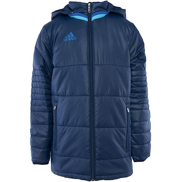 Куртка adidasВерхняя одежда<br>Куртка утепленная  Аdidas (Адидас).<br><br>Характеристики:<br><br>• Цвет: темно- синий.<br>• Состав: 100% полиэстер.<br>• Воротник – стойка.<br>• Капюшон.<br><br>Утепленная куртка от известного бренда Аdidas (Адидас) из коллекции Adidas Condivo.  Эта спортивная куртка отлично впишется в гардероб  вашего ребенка. Куртка темно-синего цвета, декорирована ярко– голубыми лампасами. Карманы прорезные, на молнии Данная модель выполнена с застежкой молния. Воротник стойка и капюшон отлично защитят вашего ребенка от ветра и непогоды. В такой  куртке ребенок будет комфортно себя чувствовать во время активных прогулок. Данная модель хорошо сидит на ребенке, обеспечивают комфорт и отлично сочетается с другой спортивной одеждой. <br><br>Утепленную куртку Аdidas (Адидас), можно купить в нашем интернет-магазине.<br>Ширина мм: 356; Глубина мм: 10; Высота мм: 245; Вес г: 519; Цвет: голубой; Возраст от месяцев: 84; Возраст до месяцев: 96; Пол: Мужской; Возраст: Детский; Размер: 128,164,152,140; SKU: 5003560;