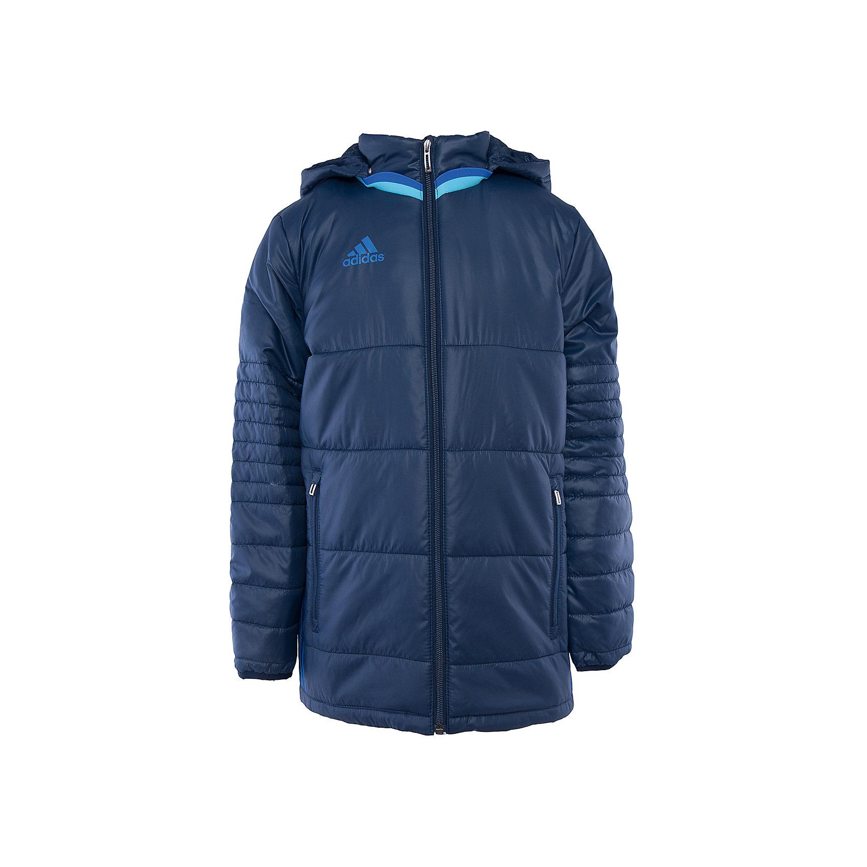 Куртка adidasВерхняя одежда<br>Куртка утепленная  Аdidas (Адидас).<br><br>Характеристики:<br><br>• Цвет: темно- синий.<br>• Состав: 100% полиэстер.<br>• Воротник – стойка.<br>• Капюшон.<br><br>Утепленная куртка от известного бренда Аdidas (Адидас) из коллекции Adidas Condivo.  Эта спортивная куртка отлично впишется в гардероб  вашего ребенка. Куртка темно-синего цвета, декорирована ярко– голубыми лампасами. Карманы прорезные, на молнии Данная модель выполнена с застежкой молния. Воротник стойка и капюшон отлично защитят вашего ребенка от ветра и непогоды. В такой  куртке ребенок будет комфортно себя чувствовать во время активных прогулок. Данная модель хорошо сидит на ребенке, обеспечивают комфорт и отлично сочетается с другой спортивной одеждой. <br><br>Утепленную куртку Аdidas (Адидас), можно купить в нашем интернет-магазине.<br><br>Ширина мм: 356<br>Глубина мм: 10<br>Высота мм: 245<br>Вес г: 519<br>Цвет: голубой<br>Возраст от месяцев: 84<br>Возраст до месяцев: 96<br>Пол: Мужской<br>Возраст: Детский<br>Размер: 128,164,140,152<br>SKU: 5003560