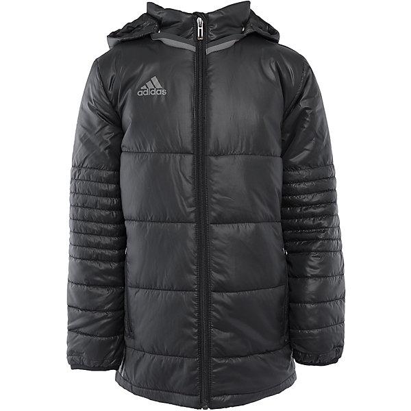Куртка adidasВерхняя одежда<br>Куртка утепленная  Аdidas (Адидас).<br><br>Характеристики:<br><br>• Цвет: Черный.<br>• Состав: 100% полиэстер.<br>• Воротник – стойка.<br>• Капюшон.<br><br>Утепленная куртка от известного бренда Аdidas (Адидас) из коллекции Adidas Condivo.  Эта теплая спортивная куртка отлично впишется в гардероб  вашего ребенка. Куртка черного цвета, декорирована серыми лампасами. Карманы прорезные, на молнии Данная модель выполнена с застежкой молния. Воротник стойка и капюшон отлично защитят вашего ребенка от ветра и непогоды. В такой  куртке ребенок будет комфортно себя чувствовать во время активных прогулок. Данная модель хорошо сидит на ребенке, обеспечивают комфорт и отлично сочетается с другой спортивной одеждой. <br><br>Утепленную куртку Аdidas (Адидас), можно купить в нашем интернет-магазине.<br><br>Ширина мм: 356<br>Глубина мм: 10<br>Высота мм: 245<br>Вес г: 519<br>Цвет: синий<br>Возраст от месяцев: 84<br>Возраст до месяцев: 96<br>Пол: Мужской<br>Возраст: Детский<br>Размер: 128,164,152,140<br>SKU: 5003565