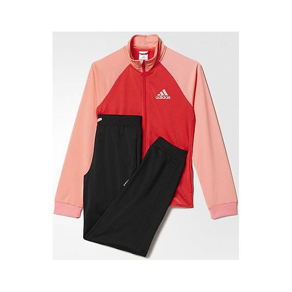 Спортивный костюм Separates adidasСпортивная форма<br>Костюм спортивный Аdidas (Адидас).<br><br>Характеристики:<br><br>• Цвет: розовый, черный.<br>• Состав: 100% полиэстер.<br>• Материал: трикотаж.<br>• Олимпийка: передние прорезные карманы; застежка на молнию; воротник-стойка; рукава реглан; рифленые манжеты<br>• Брюки: боковые карманы; рифленый пояс на регулируемых завязках-шнурках; рифленые манжеты<br>• Зауженный крой брюк.<br><br>Комфортный костюм для юной спортсменки. Модель выполнена из гладкого трикотажа. Костюм состоит из толстовки  и брюк. Толстовка с застежкой на молнии, воротником-стойкой и передними карманами, рукава реглан, рифленые манжеты.  Зауженные брюки с боковыми карманами и контрастными завязками, рифлеными манжетами на брючинах. В таком спортивном костюме ваша девочка будет чувствовать себя удобно и комфортно на занятиях спортом и в повседневной жизни.<br><br>Костюм спортивный  Adidas (Адидас), можно купить в нашем интернет – магазине.<br><br>Ширина мм: 247<br>Глубина мм: 16<br>Высота мм: 140<br>Вес г: 225<br>Цвет: розовый<br>Возраст от месяцев: 168<br>Возраст до месяцев: 180<br>Пол: Женский<br>Возраст: Детский<br>Размер: 170,152,164<br>SKU: 5003604