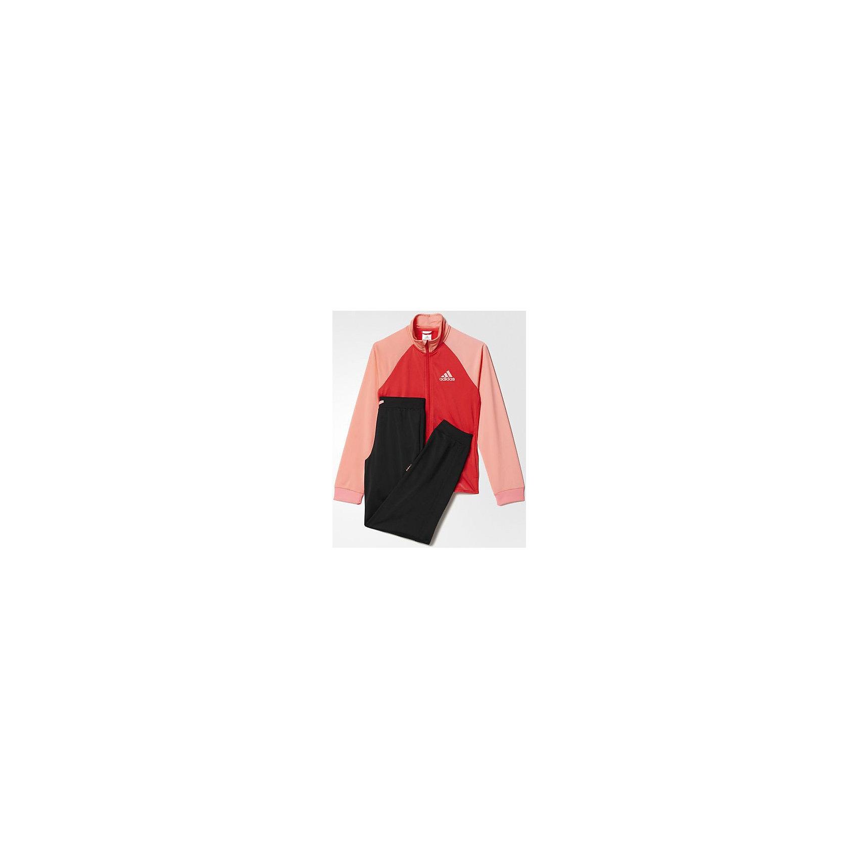 Спортивный костюм Separates adidasСпортивная одежда<br>Костюм спортивный Аdidas (Адидас).<br><br>Характеристики:<br><br>• Цвет: розовый, черный.<br>• Состав: 100% полиэстер.<br>• Материал: трикотаж.<br>• Олимпийка: передние прорезные карманы; застежка на молнию; воротник-стойка; рукава реглан; рифленые манжеты<br>• Брюки: боковые карманы; рифленый пояс на регулируемых завязках-шнурках; рифленые манжеты<br>• Зауженный крой брюк.<br><br>Комфортный костюм для юной спортсменки. Модель выполнена из гладкого трикотажа. Костюм состоит из толстовки  и брюк. Толстовка с застежкой на молнии, воротником-стойкой и передними карманами, рукава реглан, рифленые манжеты.  Зауженные брюки с боковыми карманами и контрастными завязками, рифлеными манжетами на брючинах. В таком спортивном костюме ваша девочка будет чувствовать себя удобно и комфортно на занятиях спортом и в повседневной жизни.<br><br>Костюм спортивный  Adidas (Адидас), можно купить в нашем интернет – магазине.<br><br>Ширина мм: 247<br>Глубина мм: 16<br>Высота мм: 140<br>Вес г: 225<br>Цвет: розовый<br>Возраст от месяцев: 168<br>Возраст до месяцев: 180<br>Пол: Женский<br>Возраст: Детский<br>Размер: 170,152,164<br>SKU: 5003604