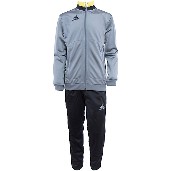 Спортивный костюм Performance adidasСпортивная форма<br>Костюм спортивный Аdidas (Адидас).<br><br>Характеристики:<br><br>• Цвет: серый, черный.<br>• Состав: 100% полиэстер.<br>• Материал: трикотаж.<br>• Олимпийка: застежка на молнию; воротник стойка; эластичные манжеты; боковые карманы; капюшон; вышитый логотип Adidas<br>• Брюки: регулируемый эластичный пояс; эластичные манжеты; боковые карманы на молнии; вышитый логотип Adidas<br>• Зауженный крой брюк.<br><br>Комфортный костюм для юных спортсменов. Модель выполнена из гладкого трикотажа. Костюм состоит из толстовки  и брюк. Толстовка серого цвета с яркой желтой полоской на воротнике - стойке с застежкой на молнии, передними карманами, рукавами реглан, рифлеными манжетами, декорирована черными лампасами.  Зауженные брюки с боковыми карманами на молниях. В таком спортивном костюме ваш ребенок будет чувствовать себя удобно и комфортно на занятиях спортом и в повседневной жизни.<br>Пусть ваши дети занимаются спортом с комфортом!<br><br>Костюм спортивный  Adidas (Адидас), можно купить в нашем интернет – магазине.<br>Ширина мм: 247; Глубина мм: 16; Высота мм: 140; Вес г: 225; Цвет: черный; Возраст от месяцев: 84; Возраст до месяцев: 96; Пол: Мужской; Возраст: Детский; Размер: 128,164,152,140; SKU: 5003613;
