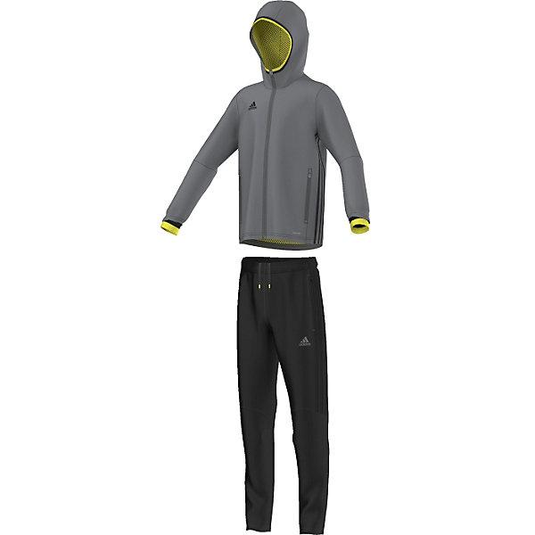 Спортивный костюм Condivo 16 Presentation Suit adidasСпортивная форма<br>Костюм спортивный Аdidas (Адидас).<br><br>Характеристики:<br><br>• Цвет: серый, черный.<br>• Куртка: 100% полиэстер, брюки: 100% полиэстер (футер), подкладка: 100% переработанный полиэстер (сетка).<br>• Материал: трикотаж.<br>• Куртка с капюшоном для защиты от ветра на молнии.<br>• Технология climacool® сохраняет приятные ощущения прохлады и свежести благодаря специальным сетчатым вставкам<br>• Куртка: карманы на молнии, застежка на молнию, капюшон, контрастная эластичная окантовка капюшона и рукавов, сетчатые вставки, обработанные лазером, на спине<br>• Брюки: карманы на молнии, пояс на регулируемых завязках-шнурках, молнии на щиколотках, эластичные манжеты<br>• Зауженный крой брюк.<br><br>Комфортный костюм для юных спортсменов. Спортивный костюм с сетчатой подкладкой дополнен технологией climacool®, которая помогает отводить излишки тепла от тела. Куртка с капюшоном для защиты ветра от ветра. На куртке карманы на молниях, застежка на молнию. Капюшон и рукава декорированы контрастной эластичной окантовкой.  На спине сетчатые вставки, обработанные лазером. Технология climacool® сохраняет приятные ощущения прохлады и свежести благодаря специальным сетчатым вставкам. Брюки: карманы на молнии, пояс на регулируемых завязках-шнурках, молнии на щиколотках, эластичные манжеты.<br> В таком спортивном костюме ваш ребенок будет чувствовать себя удобно и комфортно на занятиях спортом и в повседневной жизни.<br>Пусть ваши дети занимаются спортом с комфортом!<br><br>Костюм спортивный  Adidas (Адидас), можно купить в нашем интернет – магазине.<br><br>Ширина мм: 247<br>Глубина мм: 16<br>Высота мм: 140<br>Вес г: 225<br>Цвет: черный<br>Возраст от месяцев: 84<br>Возраст до месяцев: 96<br>Пол: Мужской<br>Возраст: Детский<br>Размер: 128,164,140,152<br>SKU: 5003618