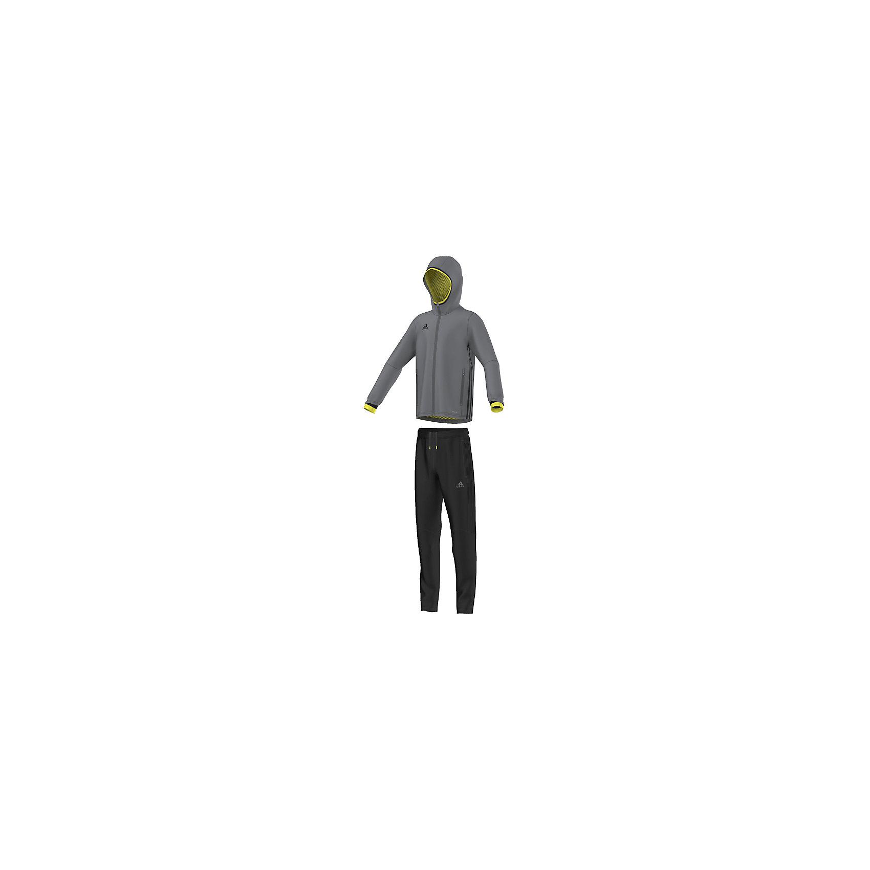 Спортивный костюм Condivo 16 Presentation Suit adidasСпортивная форма<br>Костюм спортивный Аdidas (Адидас).<br><br>Характеристики:<br><br>• Цвет: серый, черный.<br>• Куртка: 100% полиэстер, брюки: 100% полиэстер (футер), подкладка: 100% переработанный полиэстер (сетка).<br>• Материал: трикотаж.<br>• Куртка с капюшоном для защиты от ветра на молнии.<br>• Технология climacool® сохраняет приятные ощущения прохлады и свежести благодаря специальным сетчатым вставкам<br>• Куртка: карманы на молнии, застежка на молнию, капюшон, контрастная эластичная окантовка капюшона и рукавов, сетчатые вставки, обработанные лазером, на спине<br>• Брюки: карманы на молнии, пояс на регулируемых завязках-шнурках, молнии на щиколотках, эластичные манжеты<br>• Зауженный крой брюк.<br><br>Комфортный костюм для юных спортсменов. Спортивный костюм с сетчатой подкладкой дополнен технологией climacool®, которая помогает отводить излишки тепла от тела. Куртка с капюшоном для защиты ветра от ветра. На куртке карманы на молниях, застежка на молнию. Капюшон и рукава декорированы контрастной эластичной окантовкой.  На спине сетчатые вставки, обработанные лазером. Технология climacool® сохраняет приятные ощущения прохлады и свежести благодаря специальным сетчатым вставкам. Брюки: карманы на молнии, пояс на регулируемых завязках-шнурках, молнии на щиколотках, эластичные манжеты.<br> В таком спортивном костюме ваш ребенок будет чувствовать себя удобно и комфортно на занятиях спортом и в повседневной жизни.<br>Пусть ваши дети занимаются спортом с комфортом!<br><br>Костюм спортивный  Adidas (Адидас), можно купить в нашем интернет – магазине.<br><br>Ширина мм: 247<br>Глубина мм: 16<br>Высота мм: 140<br>Вес г: 225<br>Цвет: черный<br>Возраст от месяцев: 156<br>Возраст до месяцев: 168<br>Пол: Мужской<br>Возраст: Детский<br>Размер: 164,128,140,152<br>SKU: 5003618