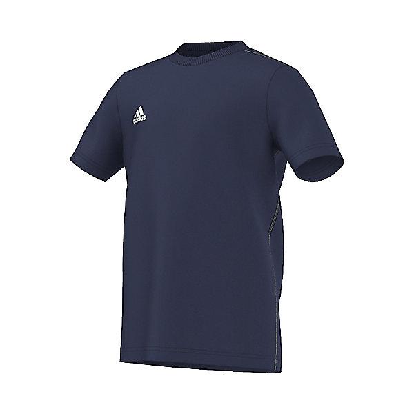 Футболка Core 15 Tee adidasСпортивная одежда<br>Футболка Аdidas (Адидас).<br><br>Характеристики:<br><br>• Цвет: темно-синий.<br>• Состав: 70% хлопок, 30% полиэстер.<br>• Ткань ClimaLite выводит влагу с кожи, позволяя себя чувствовать комфортно на протяжении всей тренировки.<br>• Материал: трикотаж.<br><br>Футболка от известного бренда Adidas станет удачным дополнением к гардеробу вашего мальчика. Футболка имеет прямой крой и короткие рукава. Горловина обработана кантом. Модель изготовлена из тонкого прочного хлопкового трикотажного полотна Для увеличения эластичности кулирной глади в хлопок добавлена лайкра, которая оберегает изделие от образования складок. Ткань приятна на ощупь, не раздражает нежную кожу, отлично пропускает воздух, идеально подходит для занятий спортом. В такой футболке  ваш ребенок будет чувствовать себя удобно и комфортно на занятиях спортом и в повседневной жизни.<br><br>Футболку  Adidas (Адидас), можно купить в нашем интернет – магазине.<br>Ширина мм: 276; Глубина мм: 187; Высота мм: 25; Вес г: 94; Цвет: синий; Возраст от месяцев: 72; Возраст до месяцев: 84; Пол: Мужской; Возраст: Детский; Размер: 128,164,152; SKU: 5003623;