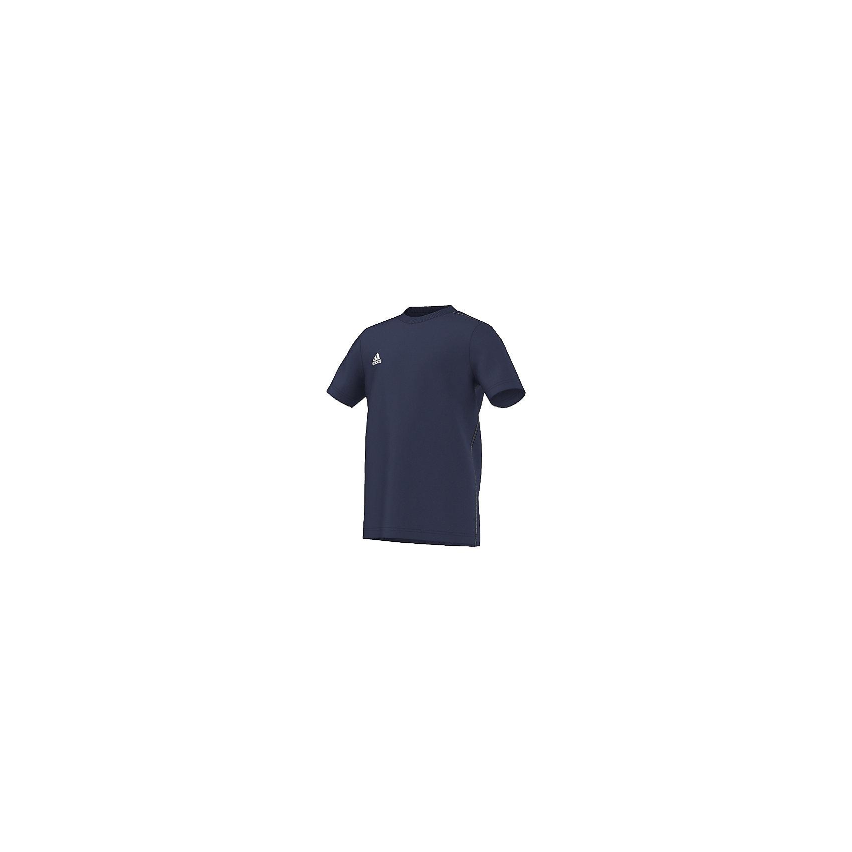 Футболка Core 15 Tee adidasСпортивная одежда<br>Футболка Аdidas (Адидас).<br><br>Характеристики:<br><br>• Цвет: темно-синий.<br>• Состав: 70% хлопок, 30% полиэстер.<br>• Ткань ClimaLite выводит влагу с кожи, позволяя себя чувствовать комфортно на протяжении всей тренировки.<br>• Материал: трикотаж.<br><br>Футболка от известного бренда Adidas станет удачным дополнением к гардеробу вашего мальчика. Футболка имеет прямой крой и короткие рукава. Горловина обработана кантом. Модель изготовлена из тонкого прочного хлопкового трикотажного полотна Для увеличения эластичности кулирной глади в хлопок добавлена лайкра, которая оберегает изделие от образования складок. Ткань приятна на ощупь, не раздражает нежную кожу, отлично пропускает воздух, идеально подходит для занятий спортом. В такой футболке  ваш ребенок будет чувствовать себя удобно и комфортно на занятиях спортом и в повседневной жизни.<br><br>Футболку  Adidas (Адидас), можно купить в нашем интернет – магазине.<br><br>Ширина мм: 276<br>Глубина мм: 187<br>Высота мм: 25<br>Вес г: 94<br>Цвет: синий<br>Возраст от месяцев: 72<br>Возраст до месяцев: 84<br>Пол: Мужской<br>Возраст: Детский<br>Размер: 128,164,152<br>SKU: 5003623