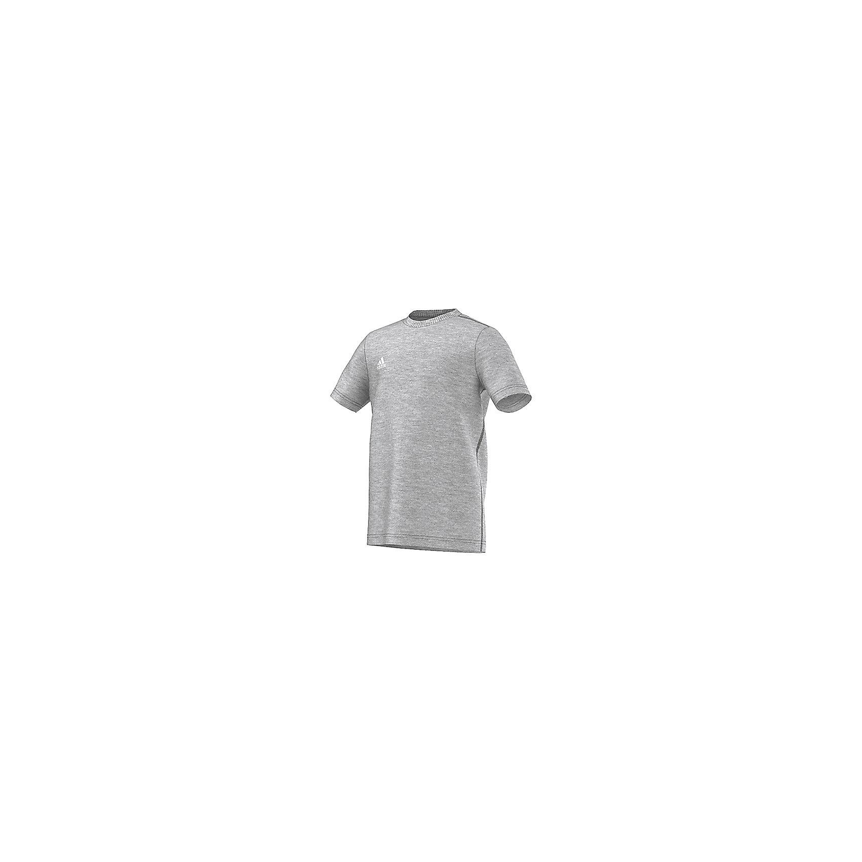 Футболка adidasСпортивная одежда<br>Футболка Аdidas (Адидас).<br><br>Характеристики:<br><br>• Цвет: серый меланж.<br>• Состав: 70% хлопок, 30% полиэстер.<br>• Ткань ClimaLite выводит влагу с кожи, позволяя себя чувствовать комфортно на протяжении всей тренировки.<br>• Материал: трикотаж.<br><br>Футболка от известного бренда Adidas станет удачным дополнением к гардеробу вашего мальчика. Футболка имеет прямой крой и короткие рукава. Горловина обработана кантом. Модель изготовлена из тонкого прочного хлопкового трикотажного полотна Для увеличения эластичности кулирной глади в хлопок добавлена лайкра, которая оберегает изделие от образования складок. Ткань приятна на ощупь, не раздражает нежную кожу, отлично пропускает воздух, идеально подходит для занятий спортом. В такой футболке  ваш ребенок будет чувствовать себя удобно и комфортно на занятиях спортом и в повседневной жизни.<br>Пусть ваши дети занимаются спортом с комфортом!<br><br>Футболку  Adidas (Адидас), можно купить в нашем интернет – магазине.<br><br>Ширина мм: 199<br>Глубина мм: 10<br>Высота мм: 161<br>Вес г: 151<br>Цвет: белый<br>Возраст от месяцев: 84<br>Возраст до месяцев: 96<br>Пол: Унисекс<br>Возраст: Детский<br>Размер: 128,164,140,152<br>SKU: 5003627