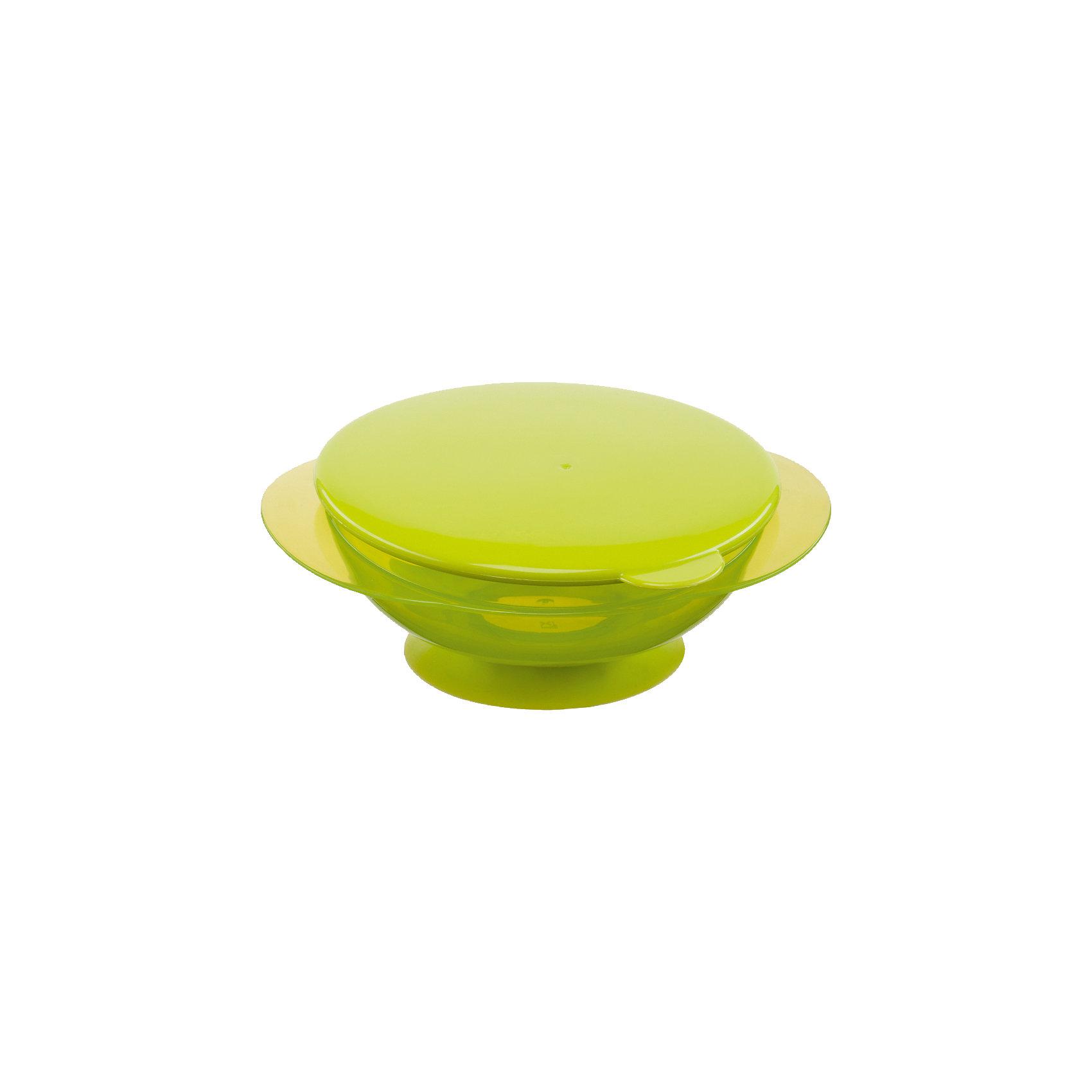 Тарелка на присоске с крышкой FEEDING BOWL, Happy Baby, лаймПосуда для малышей<br>Удобная тарелка на присоске станет незаменимым помощником во время кормления. Тарелка прочно крепится к поверхности стола, исключая опрокидывание, практичная крышка не позволит пище остыть.  Пластиковая посуда удобна и проста в использовании, она не бьется, поэтому идеально подходит для кормления малышей. Тарелка Feedin Bowl выполнена из высококачественных экологичных материалов абсолютно безопасных для детей. <br><br> В товар входит:<br>-тарелка<br>-крышка<br><br>Дополнительная информация:<br><br>- Материал: полипропилен, термопластичный эластомер<br>- Размер: 7х17х15 см. <br>- Герметичная крышка.<br>- Нескользящее дно с присоской.<br>- Удобные ручки.<br>- Не подходит для использования в СВЧ.<br>-Цвет: лайм<br>-Бренд: Happy Baby (Хеппи Беби)<br><br>Тарелку на присоске с крышкой FEEDING BOWL, Happy Baby (Хеппи Беби), можно купить в нашем магазине.<br><br>Ширина мм: 65<br>Глубина мм: 170<br>Высота мм: 205<br>Вес г: 106<br>Возраст от месяцев: 8<br>Возраст до месяцев: 36<br>Пол: Унисекс<br>Возраст: Детский<br>SKU: 5003643