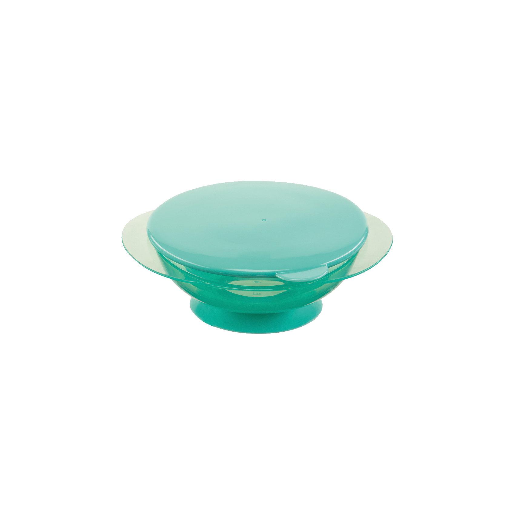 Тарелка на присоске с крышкой FEEDING BOWL, Happy Baby, ментоловыйТарелки<br>Удобная тарелка на присоске станет незаменимым помощником во время кормления. Тарелка прочно крепится к поверхности стола, исключая опрокидывание, практичная крышка не позволит пище остыть.  Пластиковая посуда удобна и проста в использовании, она не бьется, поэтому идеально подходит для кормления малышей. Тарелка Feedin Bowl выполнена из высококачественных экологичных материалов абсолютно безопасных для детей. <br><br> В товар входит:<br>-тарелка<br>-крышка<br><br>Дополнительная информация:<br><br>- Материал: полипропилен, термопластичный эластомер<br>- Размер: 7х17х15 см. <br>- Герметичная крышка.<br>- Нескользящее дно с присоской.<br>- Удобные ручки.<br>- Не подходит для использования в СВЧ.<br>-Цвет: ментоловый<br>-Бренд: Happy Baby (Хеппи Беби)<br><br>Тарелку на присоске с крышкой FEEDING BOWL, Happy Baby (Хеппи Беби), можно купить в нашем магазине.<br><br>Ширина мм: 65<br>Глубина мм: 170<br>Высота мм: 205<br>Вес г: 106<br>Возраст от месяцев: 8<br>Возраст до месяцев: 36<br>Пол: Унисекс<br>Возраст: Детский<br>SKU: 5003644