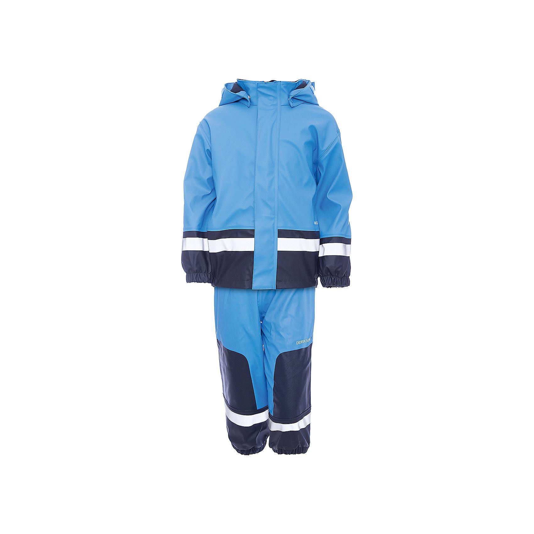 Комплект: курта и брюки для мальчика DIDRIKSONSКомплект: курта и брюки для мальчика от известного бренда DIDRIKSONS.<br>Детский костюм из водронепроницаемого мягкого полиуретана на подкладке из флиса. Все швы проклеены, что обеспечивает максимальную защиту от внешней влаги. Регулируемый съемный капюшон и пояс брюк. Резинки для ботинок. Фронтальная молния под планкой. Зона коленей усилена дополнительным слоем ткани. Светоотражатели. Ткань - износоустойчивая, за ней легко ухаживать - грязь легко удаляется с помощью влажной губки или ткани. Костюм незаменим в ненастную прохладную погоду, расчитан на температуру от 0 до +7.<br>Состав:<br>Верх - 100% полиуретан, подкладка - 100% полиэстер<br><br>Ширина мм: 356<br>Глубина мм: 10<br>Высота мм: 245<br>Вес г: 519<br>Цвет: голубой<br>Возраст от месяцев: 36<br>Возраст до месяцев: 48<br>Пол: Мужской<br>Возраст: Детский<br>Размер: 100<br>SKU: 5003845