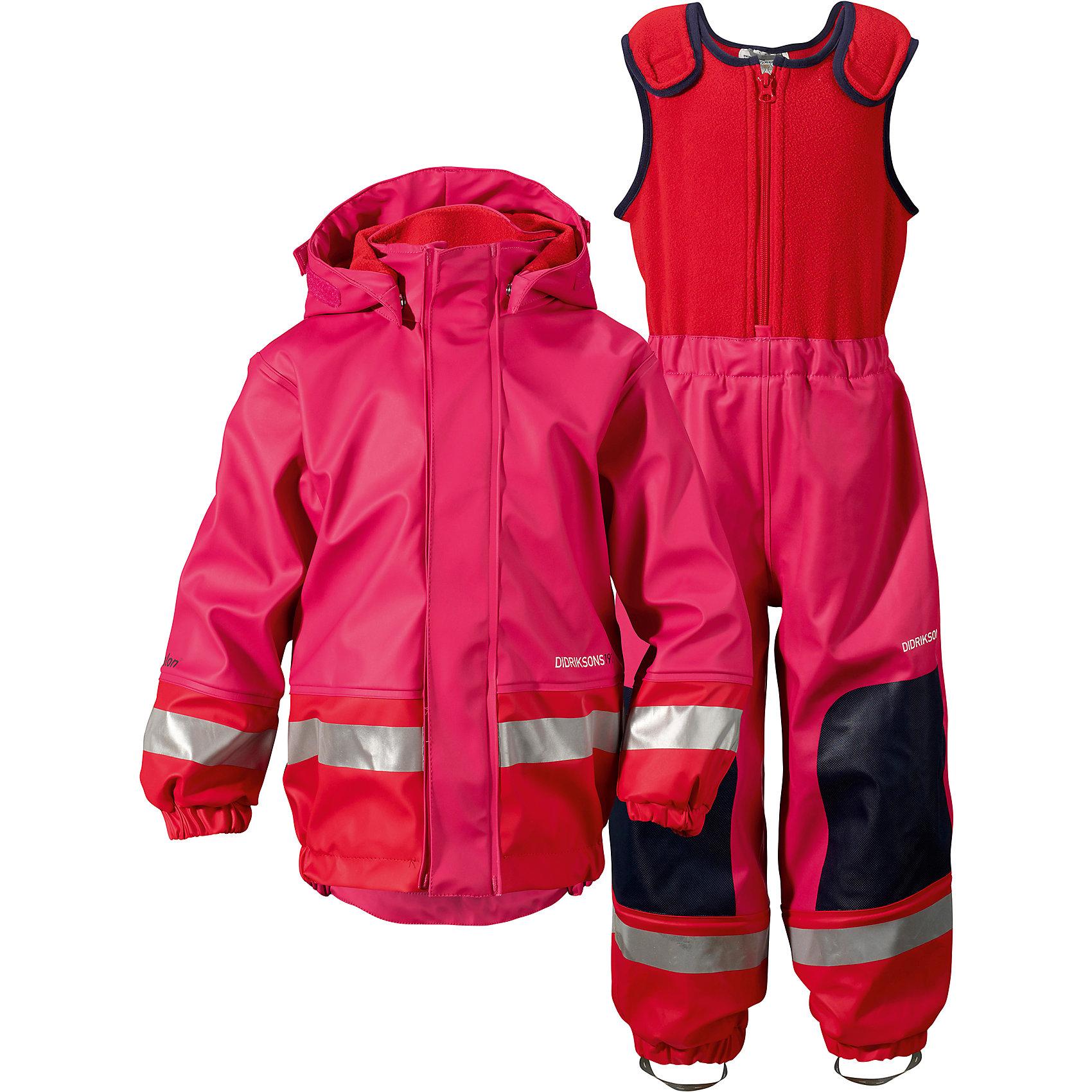 Непромокаемый комплект Boardman: куртка и брюки для девочки DIDRIKSONSВерхняя одежда<br>Характеристики товара:<br><br>• цвет: розовый<br>• материал: 100% полиуретан, подкладка - 100% полиэстер<br>• утеплитель: 60 г/м<br>• температура: от 0° до +7 ° С<br>• непромокаемая ткань<br>• подкладка из флиса<br>• проклеенные швы<br>• регулируемый съемный капюшон<br>• регулируемый пояс брюк<br>• фронтальная молния под планкой<br>• светоотражающие детали<br>• зона коленей усилена дополнительным слоем ткани<br>• грязь легко удаляется с помощью влажной губки или ткани<br>• резинки для ботинок<br>• страна бренда: Швеция<br>• страна производства: Китай<br><br>Такой непромокаемый костюм понадобится в холодную и сырую погоду! Он не только стильный, но еще и очень комфортный. Костюм обеспечит ребенку удобство при прогулках и активном отдыхе в межсезонье или оттепель. Такая модель от шведского производителя легко чистится, она оснащена разными полезными деталями.<br>Материал костюма - непромокаемый, швы дополнительно проклеены. Очень стильная и удобная модель! Изделие качественно выполнено, сделано из безопасных для детей материалов. <br><br>Комплект: куртку и полукомбинезон для девочки  от бренда DIDRIKSONS можно купить в нашем интернет-магазине.<br><br>Ширина мм: 356<br>Глубина мм: 10<br>Высота мм: 245<br>Вес г: 519<br>Цвет: розовый<br>Возраст от месяцев: 18<br>Возраст до месяцев: 24<br>Пол: Женский<br>Возраст: Детский<br>Размер: 90,70,140,100,80<br>SKU: 5003847