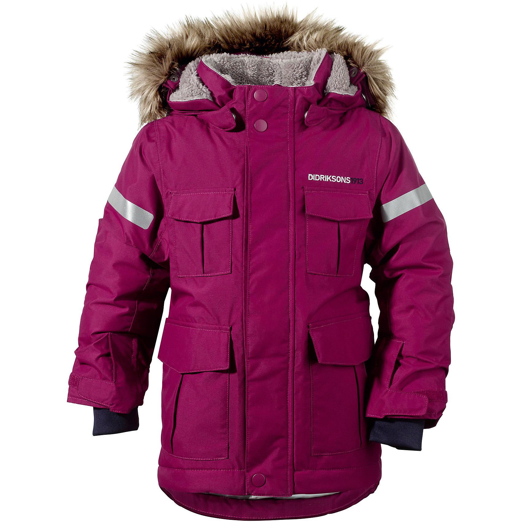 Куртка-парка Nokosi для девочки DIDRIKSONSХарактеристики товара:<br><br>• цвет: фиолетовый<br>• материал: 100% полиамид, подкладка 100% полиэстер<br>• утеплитель: 160 г/м<br>• сезон: зима<br>• температурный режим от +5 до -20С<br>• непромокаемая и непродуваемая мембранная ткань<br>• на спине подкладка из искусственного меха<br>• дополнительная пропитка верха<br>• прокленные швы<br>• регулируемый съемный капюшон<br>• ширина рукавов регулируется<br>• съемный мех на капюшоне<br>• внутренние трикотажные манжеты<br>• фронтальная молния под планкой<br>• светоотражающие детали<br>• можно увеличить длину рукавов на один размер <br>• страна бренда: Швеция<br>• страна производства: Бангладеш<br><br>Куртки парки сейчас на пике молодежной моды! Это не только стильно, но еще и очень комфортно, а также тепло. Эта качественная парка обеспечит ребенку удобство при прогулках и активном отдыхе зимой. Такая модель от шведского производителя легко трансформируется под рост ребенка и погодные условия.<br>Парка сшита из мембранной ткани, которая позволяет телу дышать, но при этом не промокает и не продувается. Очень стильная и удобная модель! Изделие качественно выполнено, сделано из безопасных для детей материалов. <br><br>Куртку для девочки от бренда DIDRIKSONS можно купить в нашем интернет-магазине.<br><br>Ширина мм: 356<br>Глубина мм: 10<br>Высота мм: 245<br>Вес г: 519<br>Цвет: фиолетовый<br>Возраст от месяцев: 72<br>Возраст до месяцев: 84<br>Пол: Женский<br>Возраст: Детский<br>Размер: 120,80,90,100,110<br>SKU: 5003974