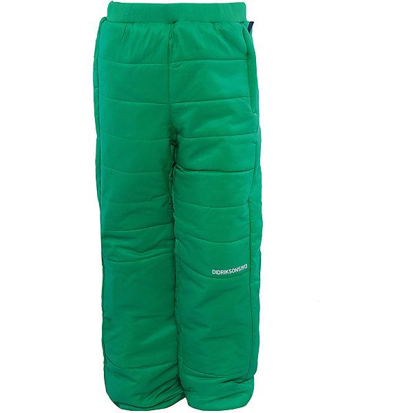 Брюки Kilpa DIDRIKSONSВерхняя одежда<br>Характеристики товара:<br><br>• цвет: зеленый<br>• материал: 100% полиэстер, подкладка 100% полиэстер<br>• стеганые<br>• температурный режим от +5 до +20, можно использовать в качестве поддёвы<br>• резинка на поясе<br>• можно надевать под одежду<br>• страна бренда: Швеция<br>• страна производства: Китай<br><br>Такие стеганые брюки сейчас очень популярны у детей! Это не только стильно, но еще и очень комфортно, а также тепло. Качественные брюки обеспечат ребенку удобство при прогулках и активном отдыхе в прохладные дне, в межсезонье или зимой. Такая модель от шведского производителя легко стирается, подходит под разные погодные условия.<br>Модель сшита из качественной ткани, дополнена мягкой широкой резинкой на поясе. Очень стильная и удобная модель! Изделие качественно выполнено, сделано из безопасных для детей материалов. <br><br>Брюки от бренда DIDRIKSONS можно купить в нашем интернет-магазине.<br><br>Ширина мм: 215<br>Глубина мм: 88<br>Высота мм: 191<br>Вес г: 336<br>Цвет: зеленый<br>Возраст от месяцев: 12<br>Возраст до месяцев: 15<br>Пол: Унисекс<br>Возраст: Детский<br>Размер: 80,90,100,110,120,130,140<br>SKU: 5003987