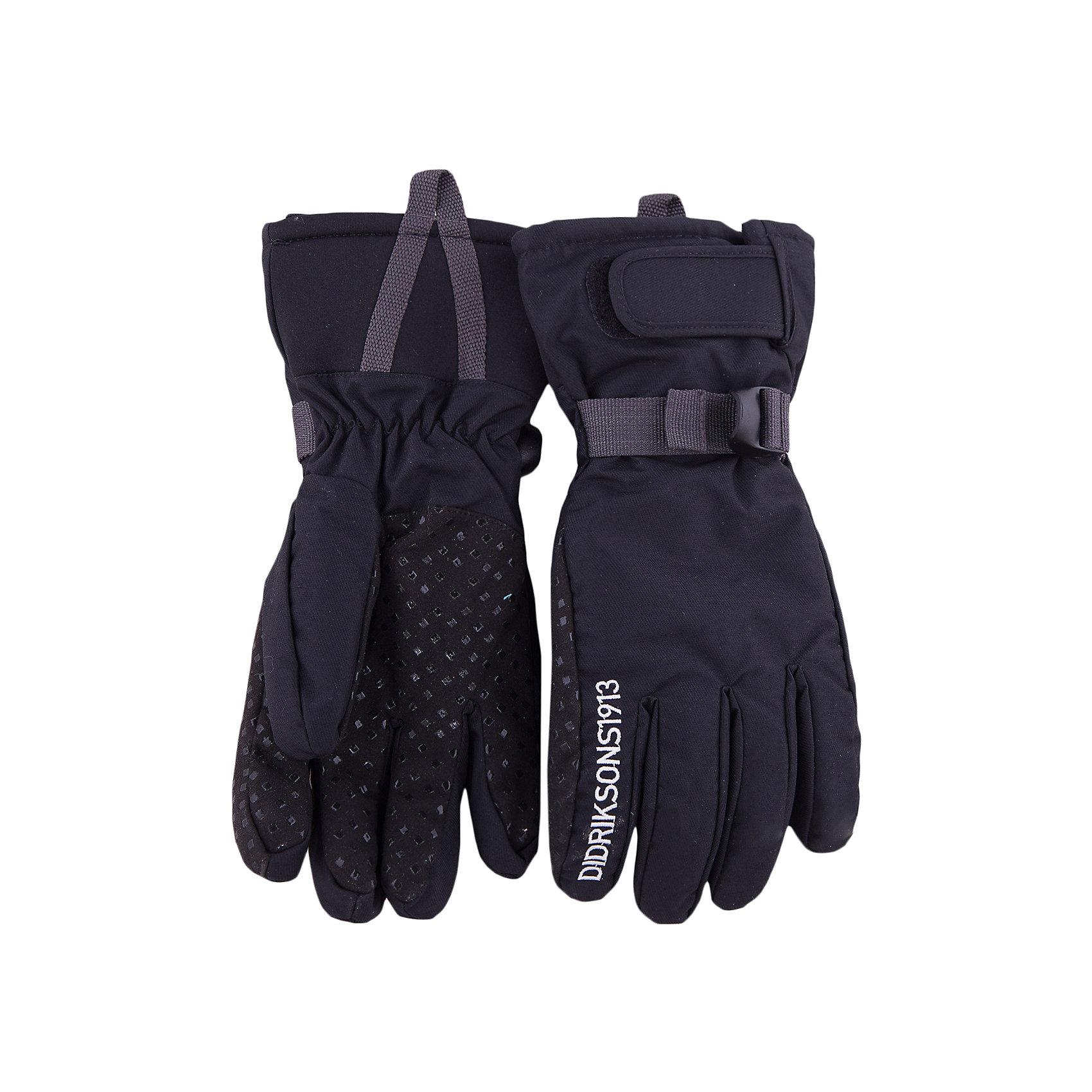 Перчатки DIDRIKSONSПерчатки от известного бренда DIDRIKSONS.<br>Перчатки из непромокаемой и непродуваемой мембранной ткани. Подкладка - мягкий флис. Утеплитель - 60 г/м. Регуляторы объема. Шнур для пристегивания. Внутренняя сторона ладони отделана прорезиненной фактурной тканью против скольжения. Отличные перчатки для зимних видов спорта и активного отдыха.<br>Состав:<br>Верх - 100% полиамид, подкладка - 100% полиэстер<br><br>Ширина мм: 162<br>Глубина мм: 171<br>Высота мм: 55<br>Вес г: 119<br>Цвет: черный<br>Возраст от месяцев: 132<br>Возраст до месяцев: 144<br>Пол: Унисекс<br>Возраст: Детский<br>Размер: 5/6,7/8,6/7<br>SKU: 5004091