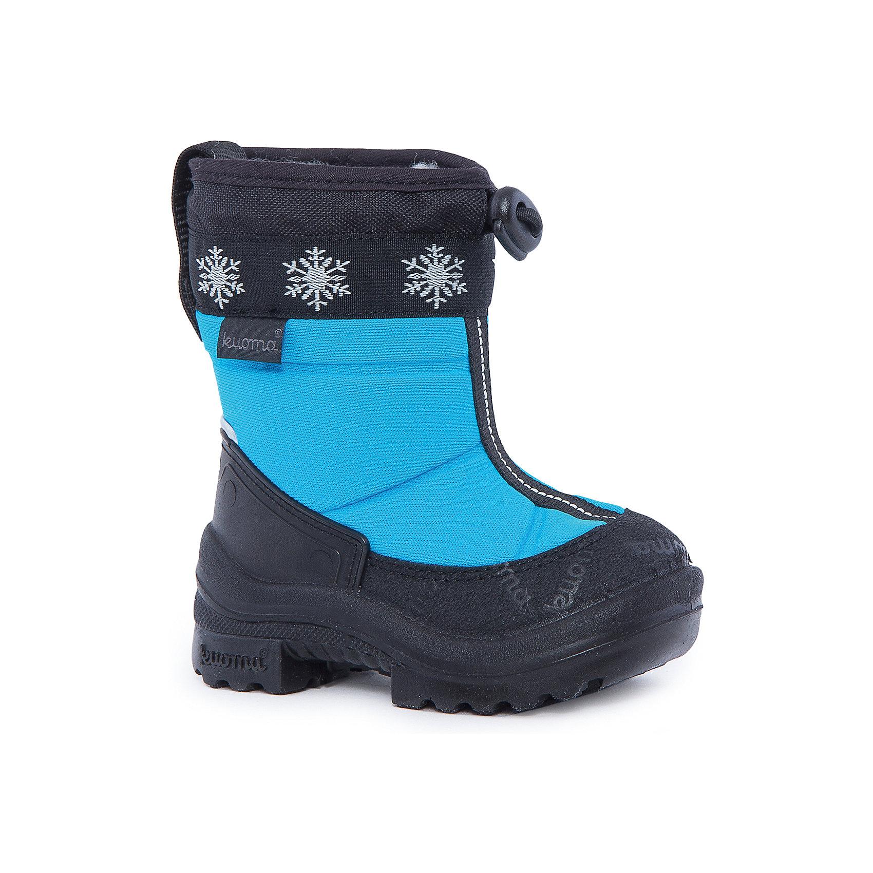 Cапоги Lumi Eskimo для мальчика KUOMAОбувь<br>Характеристики товара:<br><br>• цвет: голубой<br>• температурный режим: от -5° С до -30° С<br>• внешний материал: полиамид <br>• стелька: натуральная шерсть<br>• подошва: полиуретан<br>• светоотражающие детали<br>• амортизирующая износостойкая подошва<br>• сменная стелька<br>• верх  - с влагоотталкивающей обработкой<br>• страна бренда: Финляндия<br>• страна изготовитель: Финляндия<br><br>Во всех валенках Kuoma до 26 размера включительно утеплитель – натуральная шерсть, начиная с 27 размера – искусственный мех.<br><br>Стильные сапожки для ребенка от известного бренда детской обуви KUOMA (Куома) созданы специально для холодной погоды. Качественные материалы с пропиткой против грязи и воды и модный дизайн понравятся и малышам и их родителям. Подошва и стелька обеспечат ребенку комфорт, сухость и тепло, позволяя в полной мере наслаждаться зимним отдыхом. Усиленная защита пятки и носка обеспечивает дополнительную безопасность детских ног в этих сапожках.<br>Эта красивая и удобная обувь прослужит долго благодаря известному качеству финских товаров. Производитель предусмотрел даже светоотражающие детали и амортизирующие свойства подошвы! Модель производится из качественных и проверенных материалов, которые безопасны для детей.<br><br>Зимние сапоги для мальчика от бренда KUOMA (Куома) можно купить в нашем интернет-магазине.<br><br>Ширина мм: 257<br>Глубина мм: 180<br>Высота мм: 130<br>Вес г: 420<br>Цвет: голубой<br>Возраст от месяцев: 60<br>Возраст до месяцев: 72<br>Пол: Мужской<br>Возраст: Детский<br>Размер: 29,22,30,31,22,23,25,26,27,28,24<br>SKU: 5004222