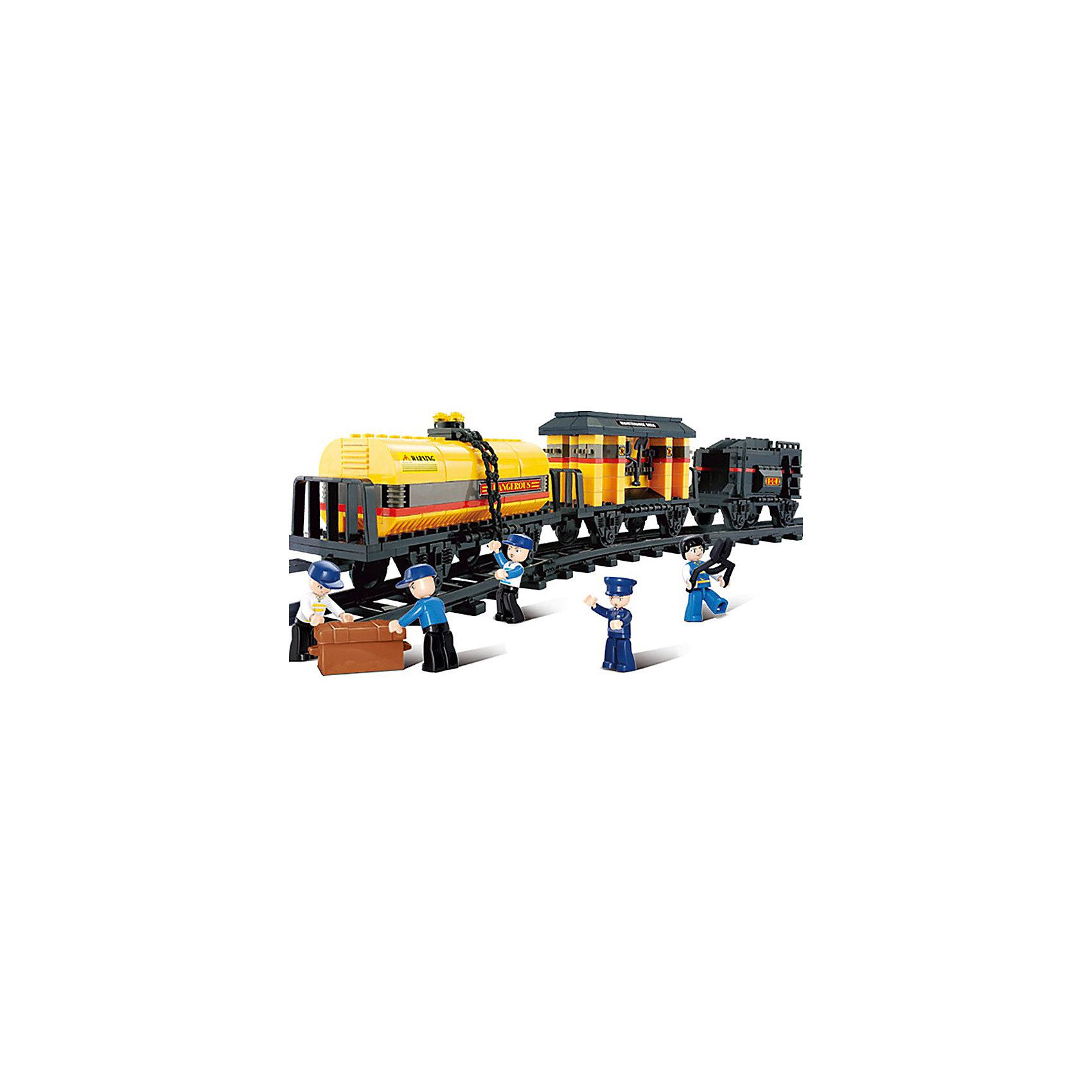 Конструктор Железнодорожный вокзал: Грузовой поезд, SlubanКонструкторы<br>В наборе: 3 вагона, рельсы, фигурки людей, 328 деталей<br><br>Ширина мм: 380<br>Глубина мм: 285<br>Высота мм: 60<br>Вес г: 910<br>Возраст от месяцев: 72<br>Возраст до месяцев: 1188<br>Пол: Мужской<br>Возраст: Детский<br>SKU: 5005644