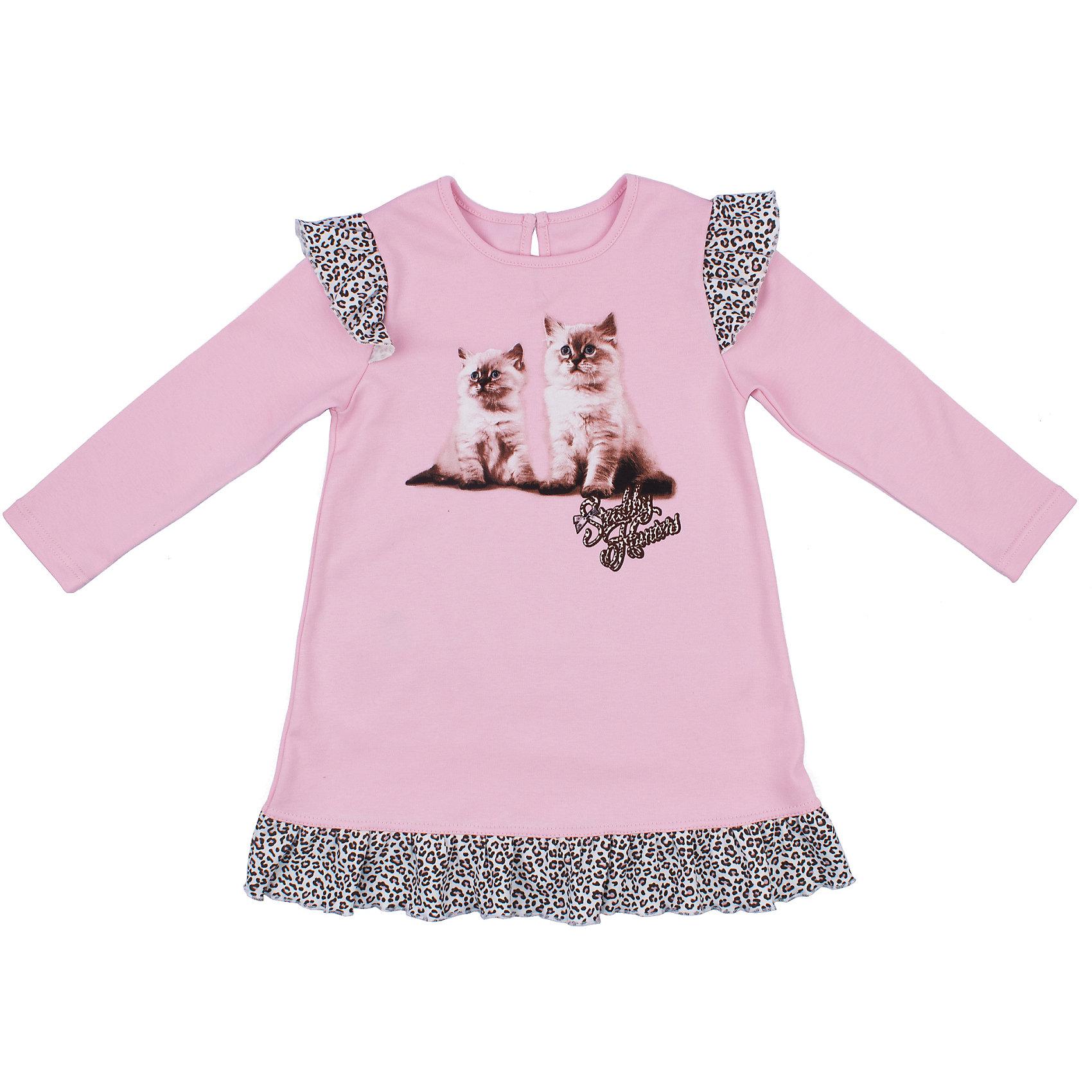 Платье для девочки АпрельПлатье для девочки Апрель.<br><br>Характеристики:<br>• состав: 100% хлопок<br>• цвет: розовый<br>• коллекция: Забавные котята<br><br>Симпатичное платье из коллекции Забавные котята (Апрель) изготовлено из стопроцентного хлопкового полотна. Оно имеет круглый ворот, длинный рукав и расширенный к низу силуэт. Платье розового цвета украшено леопардовыми рюшами по краю подола и на рукавах. Спереди модель декорирована принтом с милыми котятами. Это платье придется по вкусу начинающей моднице!<br><br>Платье для девочки Апрель вы можете купить в нашем интернет-магазине.<br><br>Ширина мм: 236<br>Глубина мм: 16<br>Высота мм: 184<br>Вес г: 177<br>Цвет: розовый<br>Возраст от месяцев: 12<br>Возраст до месяцев: 18<br>Пол: Женский<br>Возраст: Детский<br>Размер: 86,116,110,104,98,92<br>SKU: 5006924