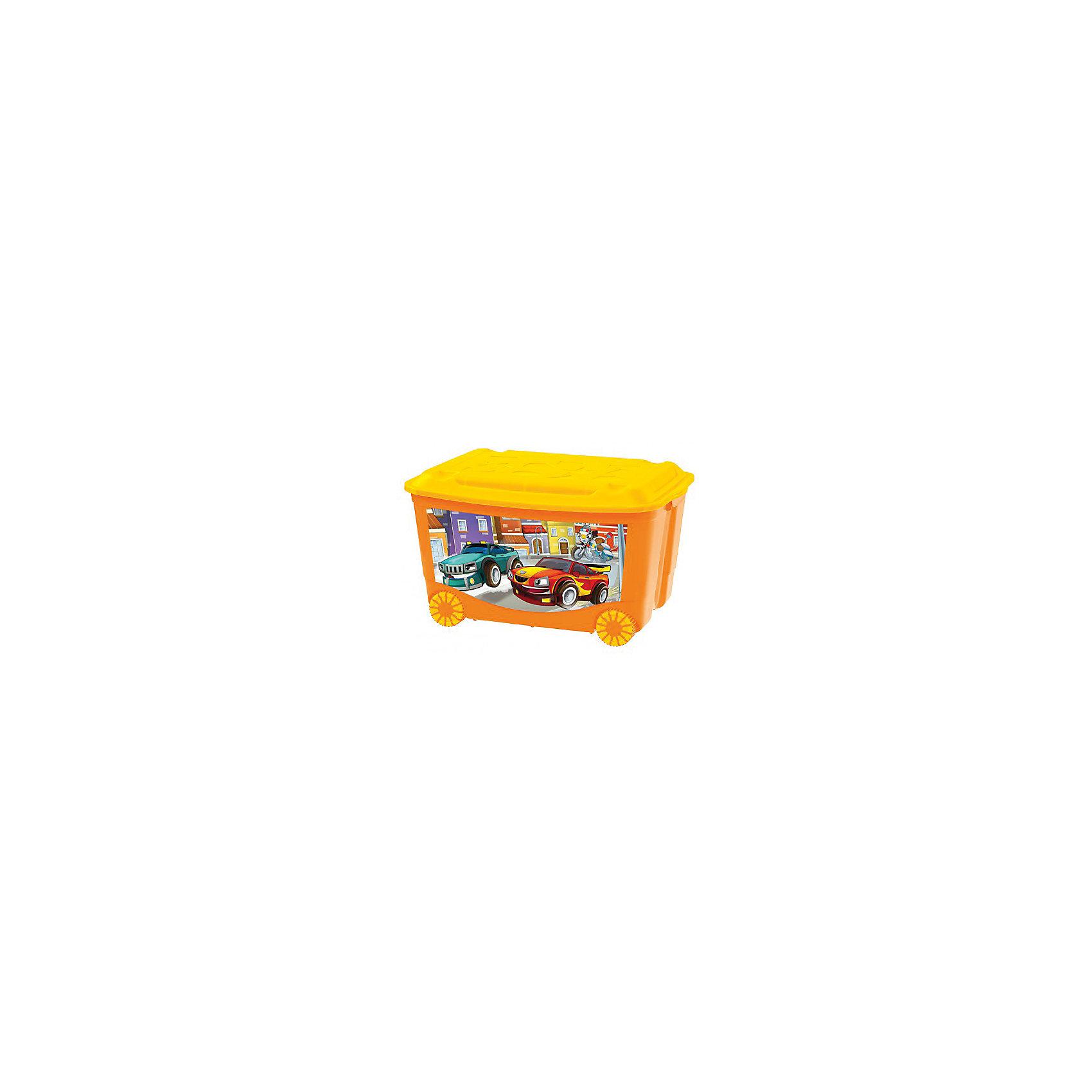 Ящик для игрушек на колесах 580*390*335, Бытпласт, оранжевыйЯщик для игрушек на колесиках позволит приучить ребенка к уборке.Контейнер изготовлен из качественного пластика, не токсичен для малышей. Вместительный, но в тоже время очень компактный ящик с крышечкой. Подойдет для упаковки игрушек, одежды, аксессуаров. Благодаря колесикам легко перемещается по комнате. Легкое скольжение позволит малышу самому привозить и увозить ящик.<br><br>Характеристика:<br>-Размер: 58х39Х33,5 см<br>-Материал: бытпласт<br>-Цвет: оранжевый<br><br>Ящик для игрушек на колесиках можно приобрести в нашем интернет-магазине.<br><br>Ширина мм: 580<br>Глубина мм: 390<br>Высота мм: 335<br>Вес г: 1900<br>Возраст от месяцев: 24<br>Возраст до месяцев: 72<br>Пол: Унисекс<br>Возраст: Детский<br>SKU: 5007009
