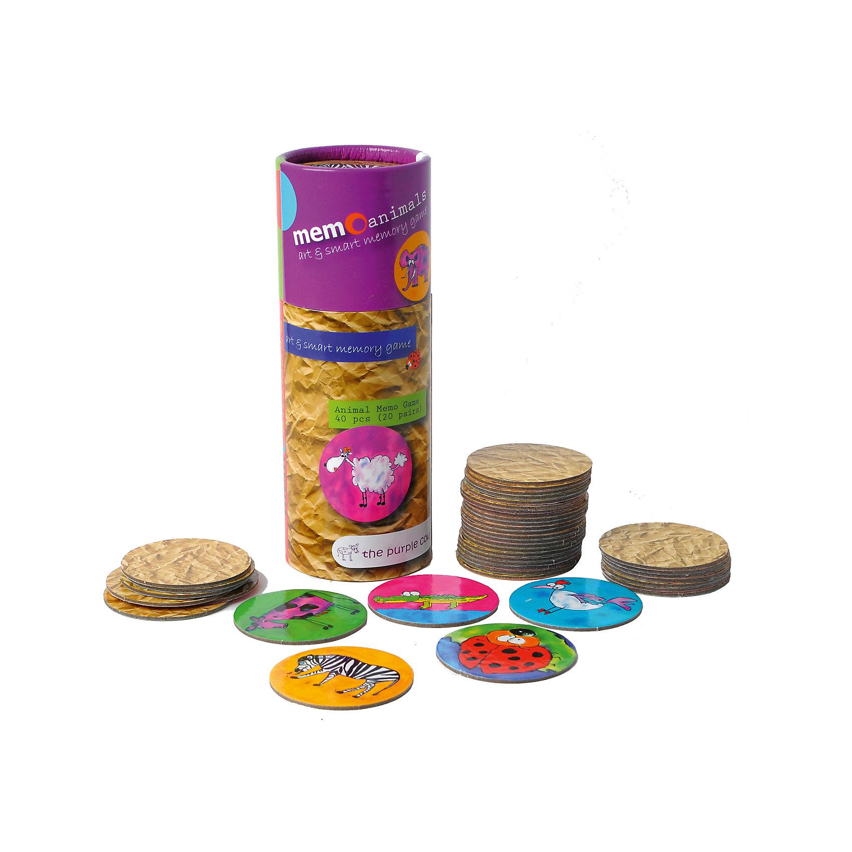 Игра для развития памяти - Животные, The Purple CowИгры мемо<br>Характеристики настольной игры The Purple Cow:<br><br>• правила игры напоминают игру для развития памяти мемо;<br>• в процессе игры развивается память и внимание;<br>• в комплекте карточки-картинки из плотного картона;<br>• всего в наборе 20 пар одинаковых карточек;<br>• материал: картон;<br>• диаметр упаковки: 9 см;<br>• высота упаковки: 25 см<br><br>Как играть:<br><br>• карточки выкладываются рубашками вверх;<br>• игроки поочередно поднимают две карточки, запоминают картинки;<br>• когда попадаются пары, игрок забирает их себе и ходит еще раз;<br>• если карточки разные и изображения не совпали, карточки переворачиваются и ход переходит к другому игроку;<br>• победителем считается игрок, который соберет больше всего пар с одинаковыми картинками.<br><br>Игру для развития памяти - Животные, The Purple Cow можно купить в нашем интернет-магазине.<br><br>Ширина мм: 17<br>Глубина мм: 7<br>Высота мм: 7<br>Вес г: 210<br>Возраст от месяцев: 36<br>Возраст до месяцев: 2147483647<br>Пол: Унисекс<br>Возраст: Детский<br>SKU: 5007047