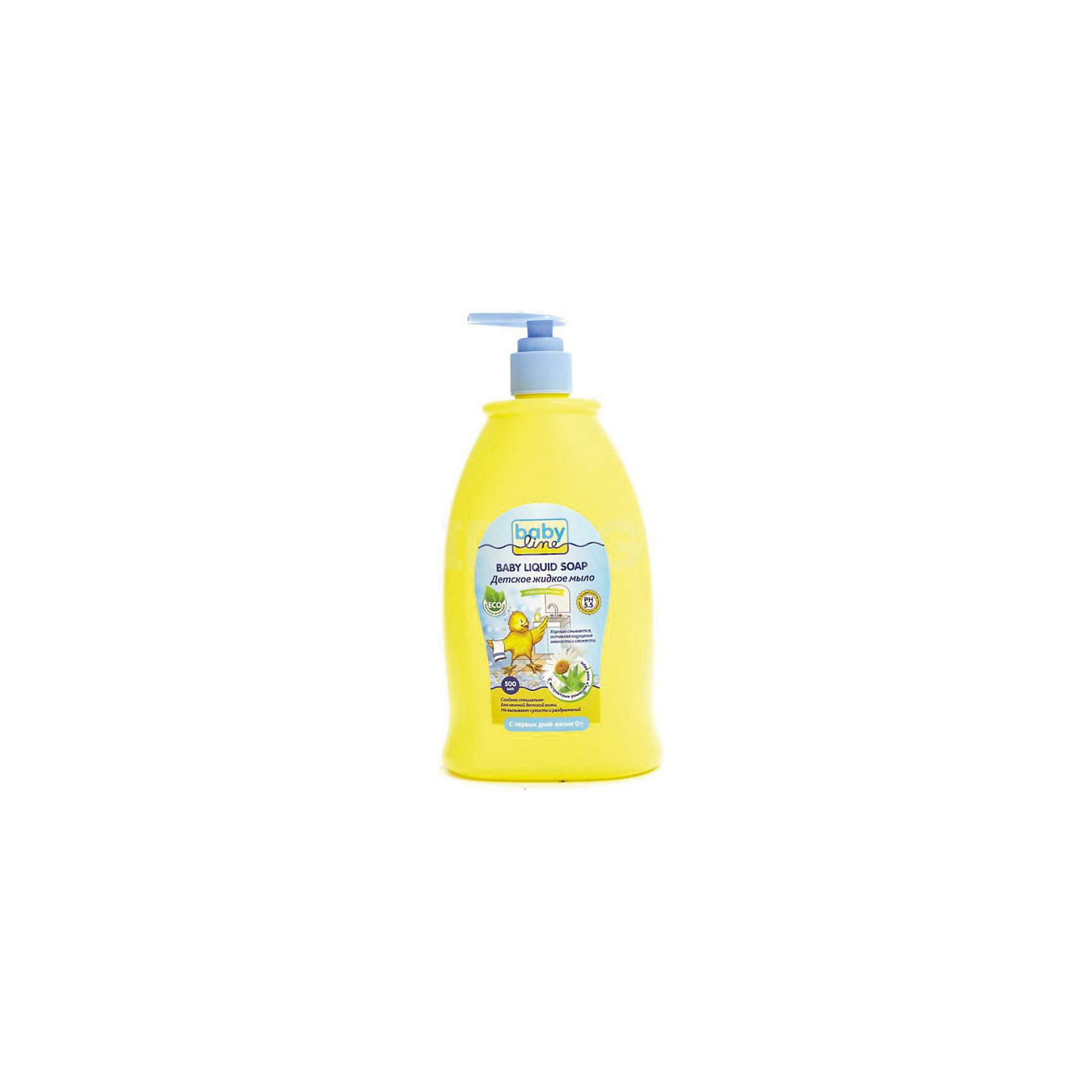 Детское жидкое мыло 500 мл. с дозатором, BABYLINEДетское мыло BabyLine(Бэби Лайн) с экстрактами ромашки и алоэ бережно очистит и увлажнит кожу малыша. Мыло изготовлено из натуральных компонентов и не вызывает сухости и аллергии. Подходит с рождения для ежедневного использования.<br><br>Дополнительная информация:<br>Объем: 500 мл<br>Возраст: с рождения<br>Состав:  очищенная вода, содиум лаурил полиоксителен, имидазолин, аминокислотный увлажняющий компонент, лаурилсаркозинат натрия, экстракт ромашки, эктракт алоэ, хлорид натрия, лимонная кислота, парфюмерная композиция<br><br>Детское жидкое мыло с дозатором BabyLine(Бэби Лайн) можно приобрести в нашем интернет-магазине.<br><br>Ширина мм: 93<br>Глубина мм: 56<br>Высота мм: 195<br>Вес г: 620<br>Возраст от месяцев: 0<br>Возраст до месяцев: 36<br>Пол: Унисекс<br>Возраст: Детский<br>SKU: 5007645