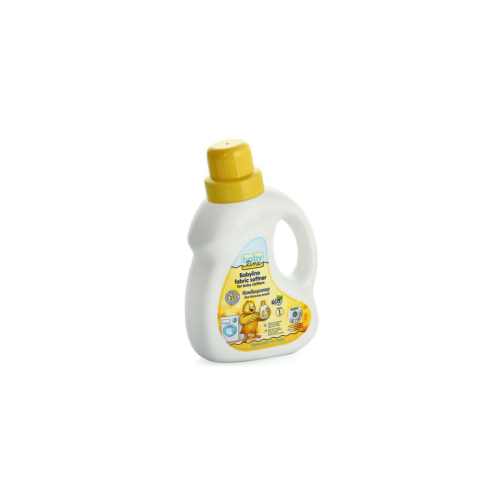 Кондиционер для стирки детских вещей 1 л (30 стирок), BABYLINEБытовая химия<br>Кондиционер для стирки детских вещей BabyLine(Бэби Лайн) подойдет для автоматической и ручной стирки, для всех видов тканей. Кондиционер защищает волокна ткани, удаляет остатки моющего средства и неприятные запахи, обладает антистатическим эффектом и облегчает глажку. Стирка с этим кондиционером обеспечит малышу комфорт при ношении одежды.<br><br>Дополнительная информация:<br>Объем: 1000 мл<br>Возраст: с рождения<br>Хватает на 30 стирок<br><br>Кондиционер для стирки детских вещей BabyLine(Бэби Лайн) вы можете купить в нашем интернет-магазине.<br><br>Ширина мм: 146<br>Глубина мм: 76<br>Высота мм: 235<br>Вес г: 1180<br>Возраст от месяцев: 0<br>Возраст до месяцев: 36<br>Пол: Унисекс<br>Возраст: Детский<br>SKU: 5007655