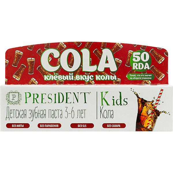 Детская зубная паста  Kids 3-6 кола 50 мл, PRESIDENT
