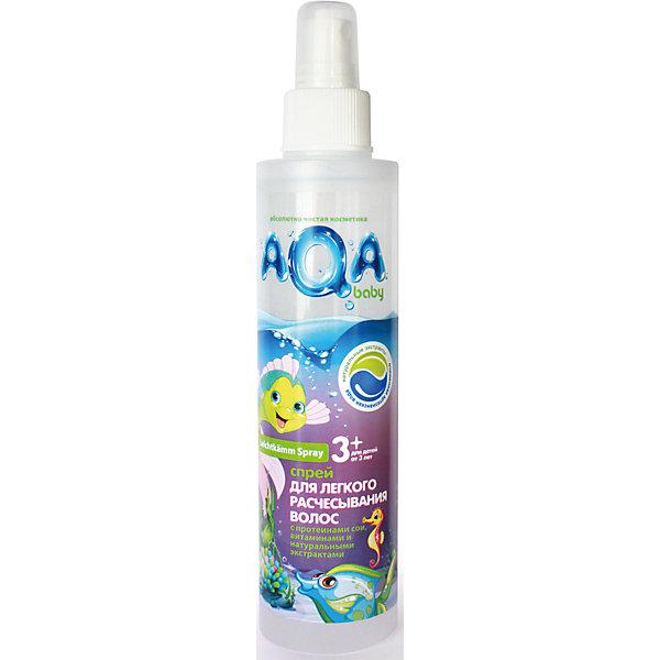 Спрей для легкого расчесывания волос KIDS 200 мл., AQA BABYКосметика для малыша<br>Спрей  AQA Baby (Аква Бэби) избавит вас от проблем при расчесывании волос. Он содержит экстракты фиалки, розы, эхинацеи и ромашки, нежно ухаживающие за кожей и волосами ребенка. Протеины сои в сочетании с витаминным комплексом укрепят волосы и обогатят их аминокислотами и белками, способствующими правильному развитию и росту. При нанесении спрея, волосы становятся мягче и легко поддаются расчесыванию. <br><br>Дополнительная информация:<br>Объем: 200 мл<br>Возраст: с 3 лет<br>Состав: aqua, cetrimonium chloride, polyquaternium-11, polyquaternium-7, sodium PCA, D-panthenol, chamomilla recutita flower extract, rosa canina fruit extract, viola odorata leaf extract, echinacea purperea root extract, propylene glycol, PPG-3 caprylyl ether, PEG-5 cocomonium methosulfate, sodium glutamate, laurdimonium hydroxypropyl hydrolyzed soy protein, hydrolyzed soy protein, sodium cocoyl glutamate, hydroxypropyl guar hydroxypropyltrimonium chloride, glycine, Peg-40 hydrogenated castor oil, benzyl alcohol, methylchloroisothiazolinone, methylisothiazolinone, parfum, disodium EDTA.<br><br>Спрей для легкого расчесывания AQA Baby (Аква Бэби) можно купить в нашем интернет-магазине.<br><br>Ширина мм: 230<br>Глубина мм: 170<br>Высота мм: 170<br>Вес г: 200<br>Возраст от месяцев: 36<br>Возраст до месяцев: 84<br>Пол: Унисекс<br>Возраст: Детский<br>SKU: 5007692