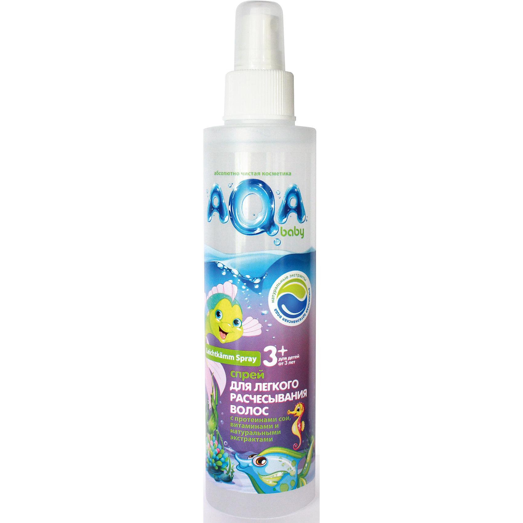 Спрей для легкого расчесывания волос KIDS 200 мл., AQA BABYБальзам для волос<br>Спрей  AQA Baby (Аква Бэби) избавит вас от проблем при расчесывании волос. Он содержит экстракты фиалки, розы, эхинацеи и ромашки, нежно ухаживающие за кожей и волосами ребенка. Протеины сои в сочетании с витаминным комплексом укрепят волосы и обогатят их аминокислотами и белками, способствующими правильному развитию и росту. При нанесении спрея, волосы становятся мягче и легко поддаются расчесыванию. <br><br>Дополнительная информация:<br>Объем: 200 мл<br>Возраст: с 3 лет<br>Состав: aqua, cetrimonium chloride, polyquaternium-11, polyquaternium-7, sodium PCA, D-panthenol, chamomilla recutita flower extract, rosa canina fruit extract, viola odorata leaf extract, echinacea purperea root extract, propylene glycol, PPG-3 caprylyl ether, PEG-5 cocomonium methosulfate, sodium glutamate, laurdimonium hydroxypropyl hydrolyzed soy protein, hydrolyzed soy protein, sodium cocoyl glutamate, hydroxypropyl guar hydroxypropyltrimonium chloride, glycine, Peg-40 hydrogenated castor oil, benzyl alcohol, methylchloroisothiazolinone, methylisothiazolinone, parfum, disodium EDTA.<br><br>Спрей для легкого расчесывания AQA Baby (Аква Бэби) можно купить в нашем интернет-магазине.<br><br>Ширина мм: 230<br>Глубина мм: 170<br>Высота мм: 170<br>Вес г: 200<br>Возраст от месяцев: 36<br>Возраст до месяцев: 84<br>Пол: Унисекс<br>Возраст: Детский<br>SKU: 5007692