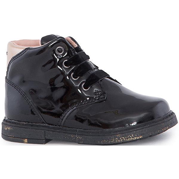 Ботинки для девочки GEOXБотинки<br>Стильные ботинки для девочки от знаменитого итальянского бренда взрослой и детской одежды и обуви GEOX (Геокс). Ботинки представлены в классическом черном цвете, который отлично сочетается с золотыми и деталями отделки. Теперь осенние прогулки станут еще веселее! Идеальные ботиник на каждый день имеют все необходимое для удобства и комфорта ребенка. Разработанная технология подошвы ботинки не позволяет им скользить, отлично амортизирует шаги и позволяет стопе дышать. Мягкая подошва отлично гнется, обеспечивая безопасность шагов, поддерживая стопу и оставляя свободу движения. Эргономичная антибактериальная кожаная стелька и задник хорошо фиксируют голеностоп и удобны в носке. Внутренний материал и практичная застежка-молния позволяют легко надевать и снимать ботинки, не заботясь о шнурках. Ботинки оставляют ноги ребенка сухими, позволяя им дышать. <br>Дополнительная информация:<br>- Состав:<br>верх: 100% синтетика <br>подкладка:  80% текстиль, 20% кожа<br>стелька:  натуральная кожа<br>подошва: резина<br>Ботинки для девочки GEOX (Геокс) можно купить в нашем магазине.<br>Подробнее:<br>• Для детей в возрасте: от 12 месяцев до 5 лет<br>• Номер товара: 5007844<br>Страна производитель: Индонезия<br>Ширина мм: 257; Глубина мм: 180; Высота мм: 130; Вес г: 420; Цвет: черный; Возраст от месяцев: 21; Возраст до месяцев: 24; Пол: Женский; Возраст: Детский; Размер: 24,23,27,26,25; SKU: 5007844;