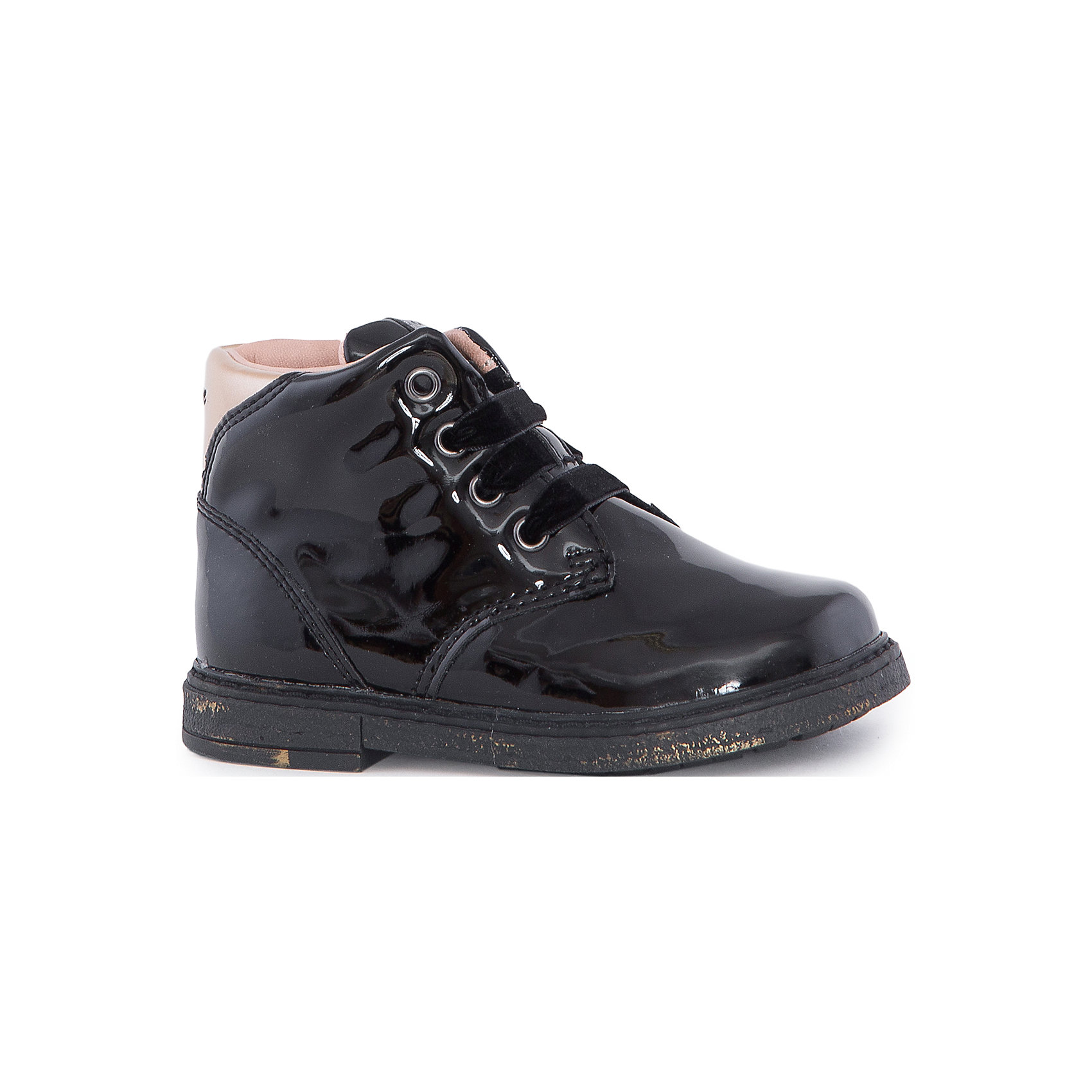 Ботинки для девочки GEOXБотинки<br>Стильные ботинки для девочки от знаменитого итальянского бренда взрослой и детской одежды и обуви GEOX (Геокс). Ботинки представлены в классическом черном цвете, который отлично сочетается с золотыми и деталями отделки. Теперь осенние прогулки станут еще веселее! Идеальные ботиник на каждый день имеют все необходимое для удобства и комфорта ребенка. Разработанная технология подошвы ботинки не позволяет им скользить, отлично амортизирует шаги и позволяет стопе дышать. Мягкая подошва отлично гнется, обеспечивая безопасность шагов, поддерживая стопу и оставляя свободу движения. Эргономичная антибактериальная кожаная стелька и задник хорошо фиксируют голеностоп и удобны в носке. Внутренний материал и практичная застежка-молния позволяют легко надевать и снимать ботинки, не заботясь о шнурках. Ботинки оставляют ноги ребенка сухими, позволяя им дышать. <br>Дополнительная информация:<br>- Состав:<br>верх: 100% синтетика <br>подкладка:  80% текстиль, 20% кожа<br>стелька:  натуральная кожа<br>подошва: резина<br>Ботинки для девочки GEOX (Геокс) можно купить в нашем магазине.<br>Подробнее:<br>• Для детей в возрасте: от 12 месяцев до 5 лет<br>• Номер товара: 5007844<br>Страна производитель: Индонезия<br><br>Ширина мм: 257<br>Глубина мм: 180<br>Высота мм: 130<br>Вес г: 420<br>Цвет: черный<br>Возраст от месяцев: 24<br>Возраст до месяцев: 24<br>Пол: Женский<br>Возраст: Детский<br>Размер: 25,27,23,24,26<br>SKU: 5007844