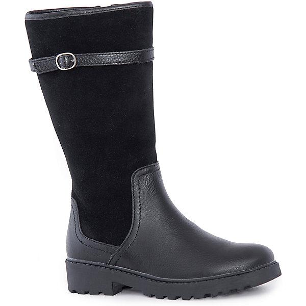 Сапоги для девочки GEOXСапоги<br>Стильные сапоги для девочки от знаменитого итальянского бренда взрослой и детской одежды и обуви GEOX (Геокс). Кроссовки представлены в классическом черном цвете, который отлично сочетается с замшевыми деталями отделки и придут по вкусу вашей моднице. Сапоги имеют все необходимое для удобства и комфорта ребенка в течение всего дня. Разработанная технология подошвы сапог не позволяет им скользить, отлично амортизирует шаги и позволяет стопе дышать. Мягкая подошва отлично гнется, обеспечивая безопасность шагов, поддерживая стопу и оставляя свободу движения. Эргономичная кожаная антибактериальная стелька и высокий задник хорошо фиксируют голеностоп и удобны в носке. Внутренний материал и боковая молния позволяют легко надевать и снимать сапоги, не заботясь о шнурках или застежках. Сапоги оставляют ноги ребенка сухими, позволяя им дышать. Рекомендованы на сезон осень-зима.<br>Дополнительная информация:<br>- Состав:<br>верх: 100% натуральная кожа,  100%натуральная замша<br>стелька:  натуральная кожа<br>подошва: резина<br>- Высота голенища 28 см.<br>- Ширина голенища 30 см.<br>Сапоги для девочки GEOX (Геокс) можно купить в нашем магазине.<br>Подробнее:<br>• Для детей в возрасте: от 5 до 10 лет<br>• Номер товара: 5007898<br>Страна производитель: Вьетнам<br>Ширина мм: 257; Глубина мм: 180; Высота мм: 130; Вес г: 420; Цвет: черный; Возраст от месяцев: 48; Возраст до месяцев: 60; Пол: Женский; Возраст: Детский; Размер: 35,36,37,38,39,40,28,41,33,29,30,31,32,34; SKU: 5007898;