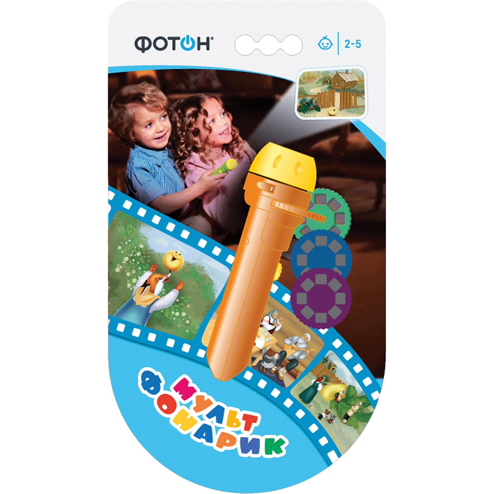 Мультфонарик с дисками «Любимые сказки», оранжевый, ФотонМульфонарик - это прекрасный подарок для Вашего ребенка!<br>С помощью волшебного фонарика Вы сможете показывать и рассказывать сказки своему малышу в любое время.<br><br>Сказки: <br>- Колобок<br>- Репка<br>- Курочка Ряба.<br><br>Дополнительная информация:<br><br>- Возраст: от 3 лет.<br>- Материал: пластик.<br>- Цвет: оранжевый.<br>- Размер упаковки: 23х12.5х3.5 см.<br>- Вес в упаковке: 94 г.<br><br>Купить мультфонарик с дисками Любимые сказки в оранжевом цвете, можно в нашем магазине.<br><br>Ширина мм: 230<br>Глубина мм: 125<br>Высота мм: 35<br>Вес г: 94<br>Возраст от месяцев: 36<br>Возраст до месяцев: 84<br>Пол: Унисекс<br>Возраст: Детский<br>SKU: 5007965