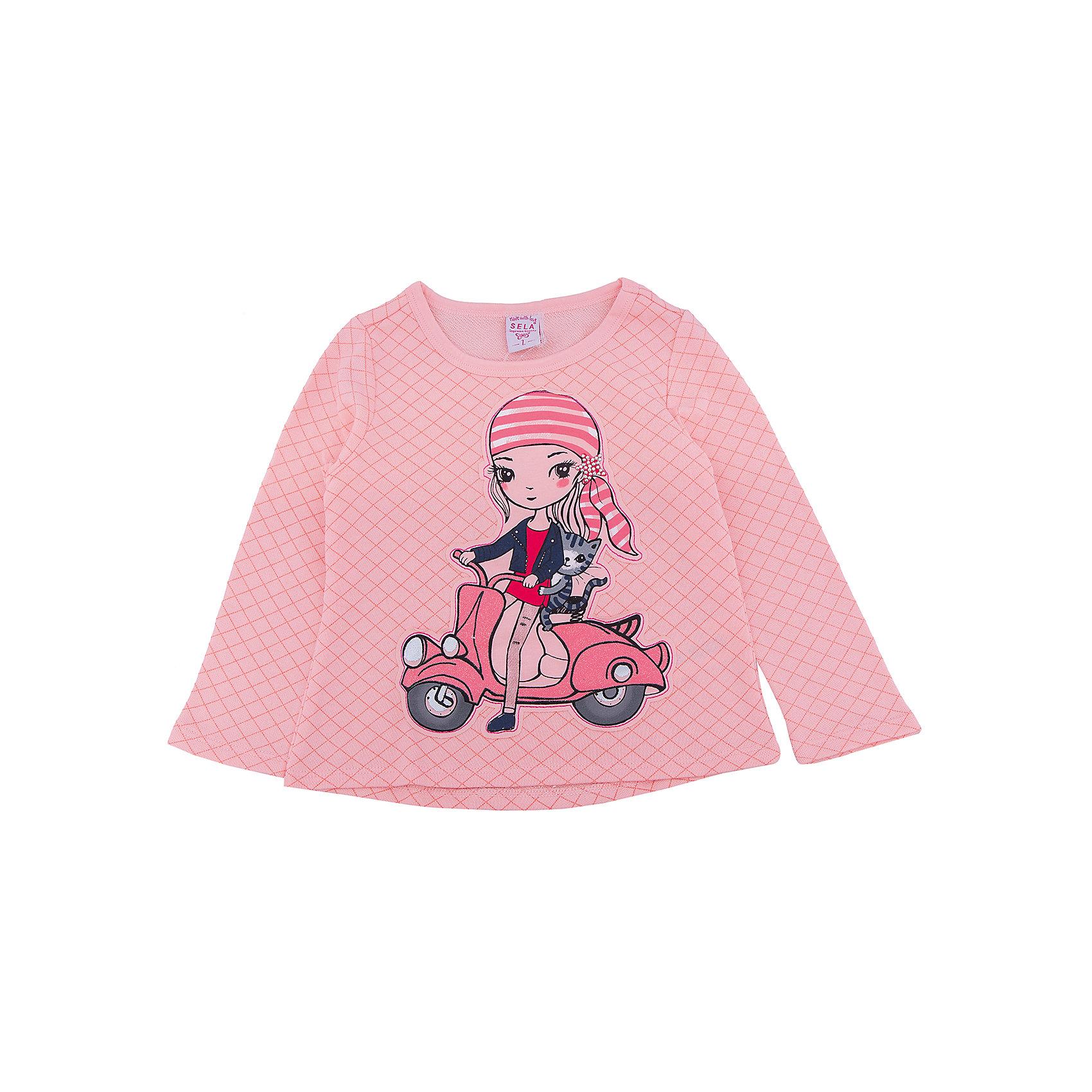Футболка с длинным рукавом для девочки SELAФутболка с длинным рукавом  - незаменимая вещь в прохладное время года. Эта модель отлично сидит на ребенке, она сделана из приятного на ощупь материала, мягкая и дышащая. Натуральный хлопок в составе ткани не вызывает аллергии и обеспечивает ребенку комфорт. Модель станет отличной базовой вещью, которая будет уместна в различных сочетаниях.<br>Одежда от бренда Sela (Села) - это качество по приемлемым ценам. Многие российские родители уже оценили преимущества продукции этой компании и всё чаще приобретают одежду и аксессуары Sela.<br><br>Дополнительная информация:<br><br>материал: 65% хлопок, 35% ПЭ;<br>длинный рукав;<br>украшен принтом.<br><br>Джемпер для девочки от бренда Sela можно купить в нашем интернет-магазине.<br><br>Ширина мм: 190<br>Глубина мм: 74<br>Высота мм: 229<br>Вес г: 236<br>Цвет: розовый<br>Возраст от месяцев: 24<br>Возраст до месяцев: 36<br>Пол: Женский<br>Возраст: Детский<br>Размер: 98,104,110,116,92<br>SKU: 5008175