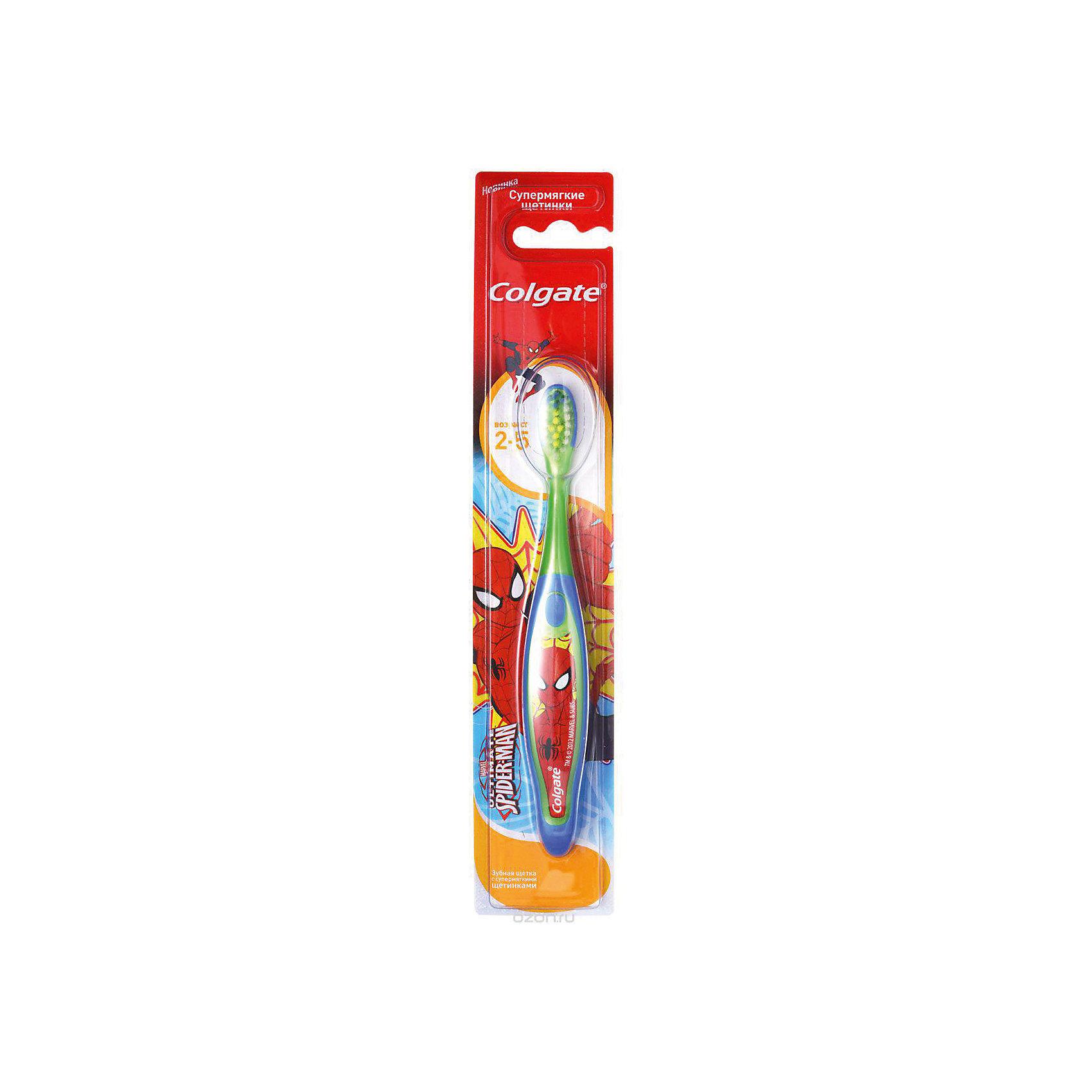 Зубная щётка для детей от 2 до 5 лет SpiderMan, Colgate, синий/зеленыйЗубная щётка для детей от 2 до 5 лет SpiderMan, от знаменитого бренда Colgate (Колгейт). Новая коллекция по уходу за ротовой полостью специально разработана компанией, чтобы дети могли использовать только лучшие щетки. Эта щеточка для зубов с озорным человеком-пауком понравятся малышам и они захотят сами чистить свои зубки. Экстра мягкие щетинки бережно очистят молочные зубки и не дадут повредить десна. Удобная ручка из пластика и резины не даст щеточке выскользнуть, а специальное углубление для большого пальчика научит интуитивно держать щетку. Небольшая закругленная щетка на тонкой ручке отлично подойдет для маленького ротика и достанет до удаленных уголков, а выделенная центральная часть щетки покажет сколько нужно наносить зубной пасты.<br>Дополнительная информация:<br>- В комплект входит: одна зубная щетка<br>Зубная щётка для детей от 2 до 5 лет SpiderMan, Colgate (Колгейт) можно купить в нашем интернет-магазине.<br>Подробнее:<br>• Для детей в возрасте: от 2 до 5 лет<br>• Номер товара: 5008300<br>Страна производитель: Китай<br><br>Ширина мм: 300<br>Глубина мм: 100<br>Высота мм: 50<br>Вес г: 100<br>Возраст от месяцев: 0<br>Возраст до месяцев: 36<br>Пол: Унисекс<br>Возраст: Детский<br>SKU: 5008300
