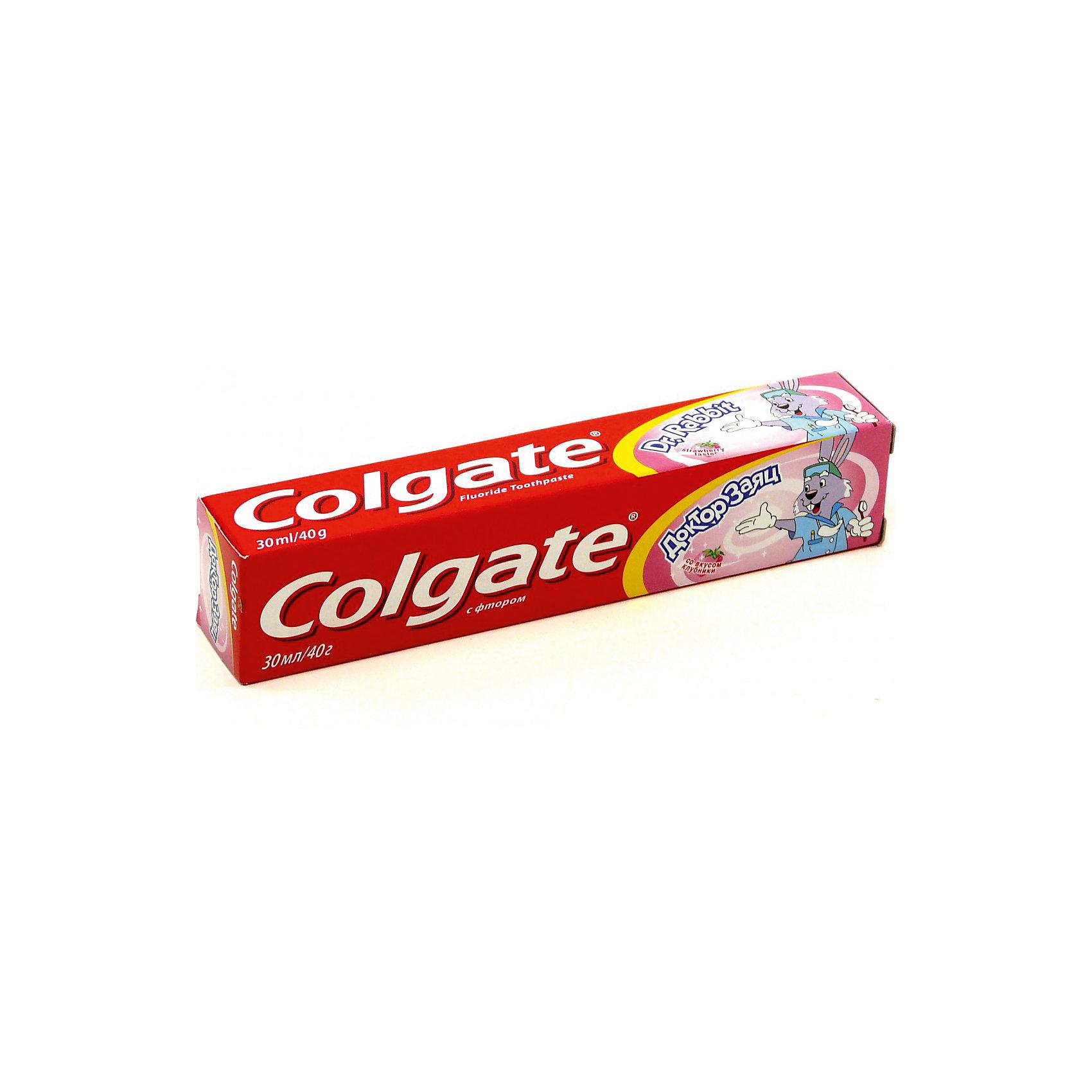 Зубная паста детская Доктор Заяц со вкусом клубники 50мл, ColgateЗубные пасты<br>Зубная паста детская Доктор Заяц со вкусом клубники 50мл от знаменитого американского бренда Colgate (Колгейт). Новая коллекция по уходу за ротовой полостью специально разработана компанией, чтобы дети могли использовать только лучшее. Эта яркая гелевая зубная паста с клубничным ароматом и вкусом понравится вашей крохе и он захочет сам чистить свои зубки. Паста бережно очистят молочные зубки и предотвратит появления кариеса. Невысокое содержание фтора сделает очищение еще более эффективным. Удобный тюбик выглядит совсем как у взрослых, но имеет симпатичного зайца, который станет отличным компаньоном по очистке зубов.<br>Дополнительная информация:<br>- Объем: 50 мл.<br>- Яркий клубничный вкус<br>Зубная паста детская Доктор Заяц со вкусом клубники 50мл, Colgate (Колгейт) можно купить в нашем интернет-магазине.<br>Подробнее:<br>• Для детей в возрасте: от 2 лет<br>• Номер товара: 5008302<br>Страна производитель: Китай<br><br>Ширина мм: 300<br>Глубина мм: 100<br>Высота мм: 50<br>Вес г: 100<br>Возраст от месяцев: 36<br>Возраст до месяцев: 2147483647<br>Пол: Унисекс<br>Возраст: Детский<br>SKU: 5008302
