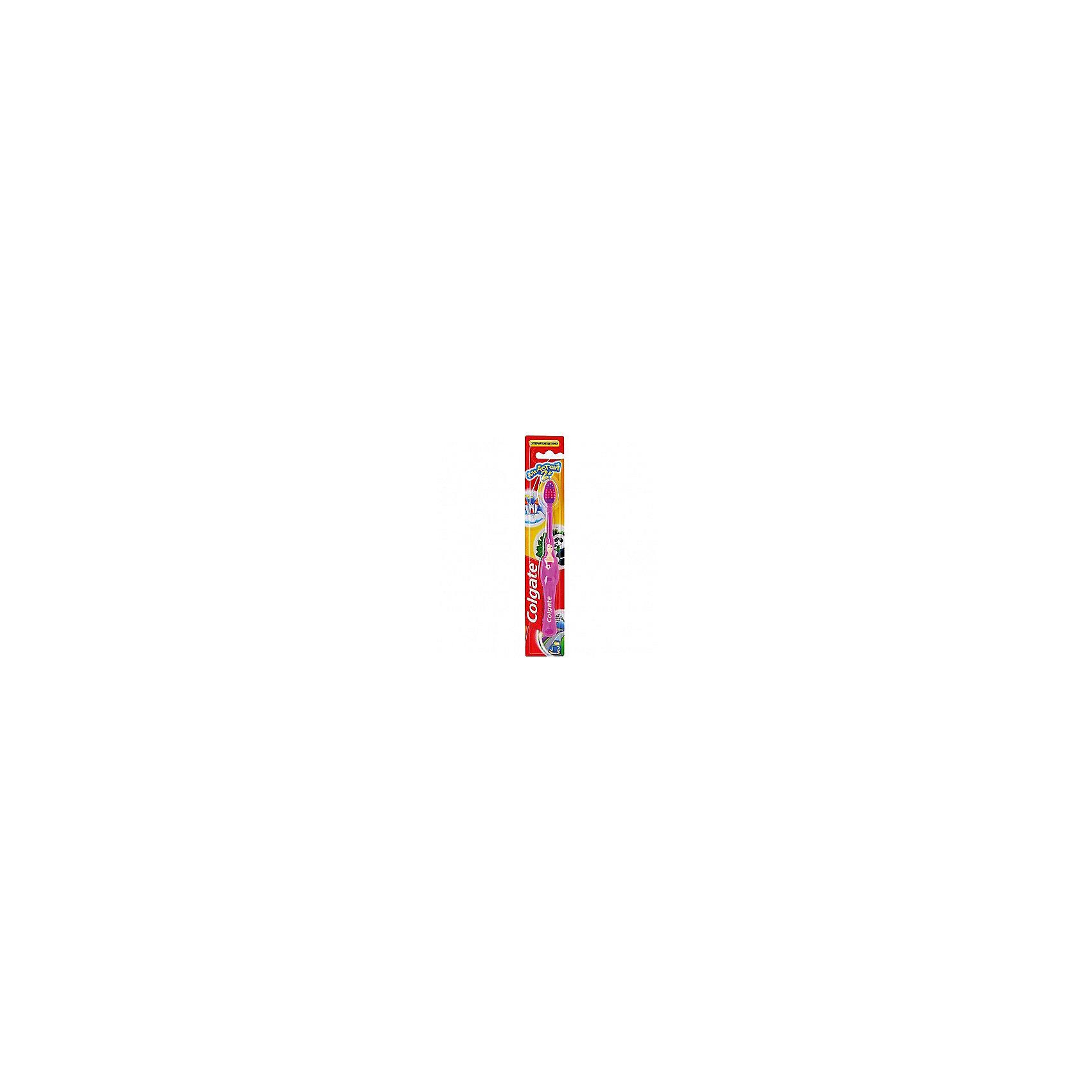 Зубная щётка супермягкая для детей от 2х лет, Colgate, фиолетовыйЗубная щётка супермягкая для детей от 2х лет от знаменитого американского бренда Colgate (Колгейт). Новая коллекция по уходу за ротовой полостью специально разработана компанией, чтобы дети могли использовать только лучшие щетки. Эта яркая щеточка для зубов понравится малышу и он захочет сам чистить свои зубки. Экстра мягкие щетинки бережно очистят молочные зубки и не дадут повредить десна. Удобная ручка из пластика и резины не даст щеточке выскользнуть, а специальное углубление для большого пальчика научит интуитивно держать щетку. Небольшая закругленная щетка на тонкой ручке отлично подойдет для маленького ротика и достанет до удаленных уголков, а выделенная центральная часть щетки покажет сколько нужно наносить зубной пасты.<br>Дополнительная информация:<br>- В комплект входит: одна зубная щетка<br>Зубная щётка супермягкая для детей от 2х лет, Colgate (Колгейт) можно купить в нашем интернет-магазине.<br>Подробнее:<br>• Для детей в возрасте: от 2 лет<br>• Номер товара: 5008303<br>Страна производитель: Китай<br><br>Ширина мм: 300<br>Глубина мм: 100<br>Высота мм: 50<br>Вес г: 100<br>Возраст от месяцев: 24<br>Возраст до месяцев: 2147483647<br>Пол: Унисекс<br>Возраст: Детский<br>SKU: 5008303