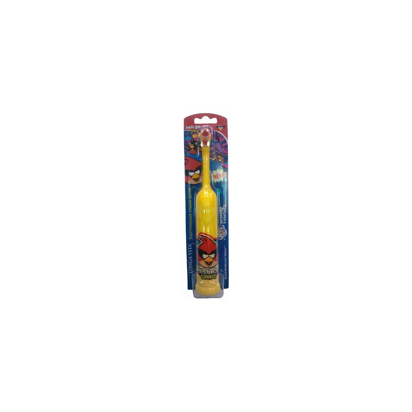 LONGA VITA Зубная щетка электрическая для детей от 3-х лет, + батарейка, Angry Birds, LONGA VITA, красная птичка недорого