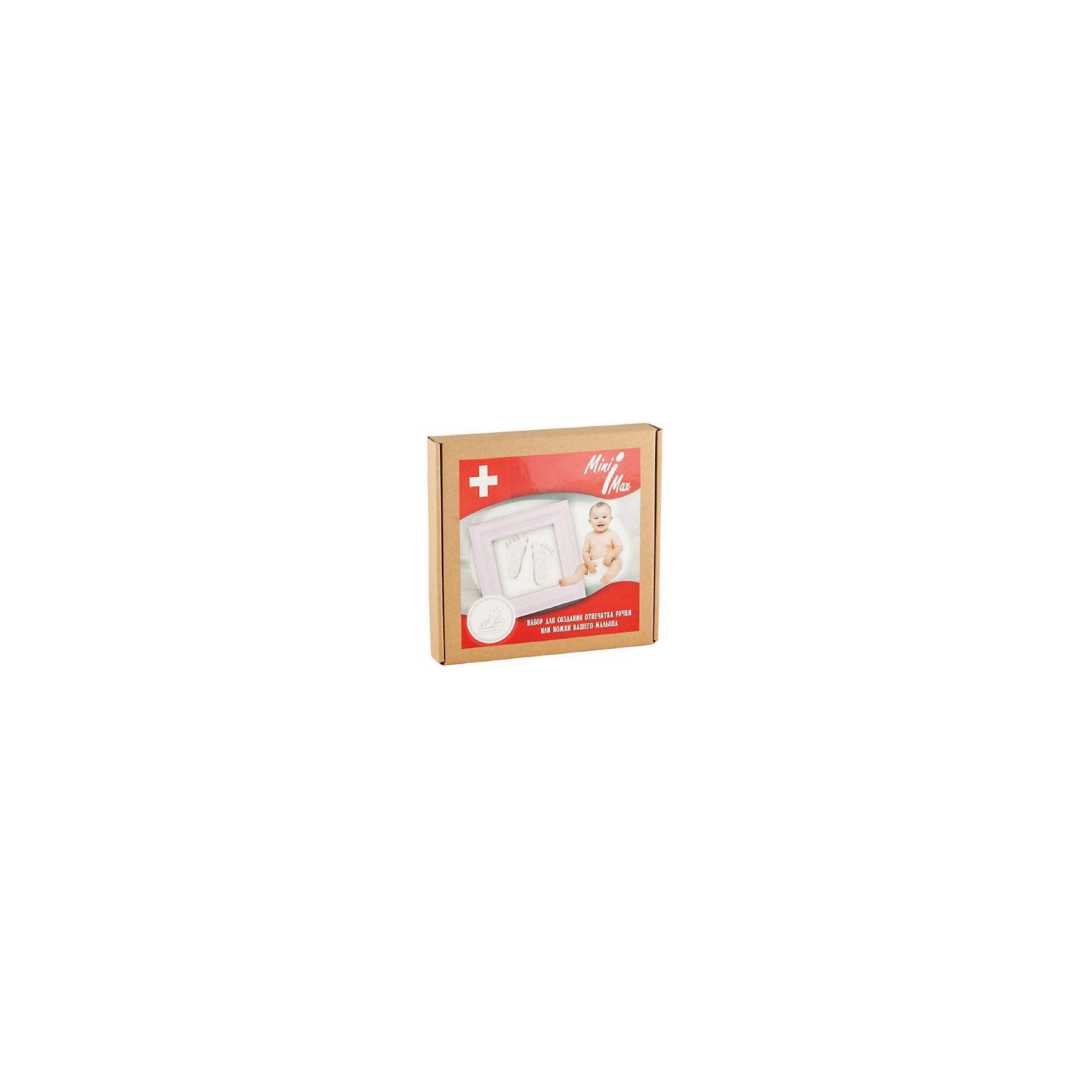 Набор для создания отпечатка ручки или ножки малыша в рамке, розовый, MiniMaxСделать слепок с крошечной ручки или ножки малыша и сохранить картину с оттиском в рамочке поможет набор MiniMax. Гипсовая основа безопасна для малыша, контакт с кожей малыша кратковременный. Чтобы создать слепок, необходимо размять гипсовую смесь в руках, заполнить пространство в рамке, сделать отпечаток ладошки или ступни крохи, дать гипсу высохнуть. <br><br>Дополнительная информация:<br><br>Размер рамки: 18х18х2 см<br><br>Комплектация набора для создания слепка:<br>• гипсовая смесь;<br>• деревянная рамка;<br>• инструкция.<br><br>Набор для создания отпечатка ручки или ножки малыша в рамке, розовый, MiniMax можно купить в нашем интернет-магазине.<br><br>Ширина мм: 300<br>Глубина мм: 100<br>Высота мм: 50<br>Вес г: 1200<br>Возраст от месяцев: 0<br>Возраст до месяцев: 36<br>Пол: Унисекс<br>Возраст: Детский<br>SKU: 5008338