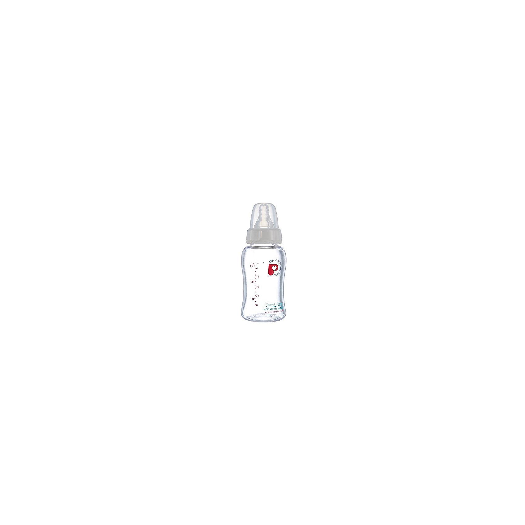 Бутылочка Перистальтик Плюс с широким горлышком 160мл, стекло, PigeonСтеклянная бутылочка для кормления малыша имеет широкое горлышко, через которое удобно наливать густую смесь или сцеженное грудное молоко. Антиколиковая соска классической формы выполнена из силикона. Бутылочка для кормления имеет защитный колпачок, который надевается на соску и защищает ее от загрязнения.<br><br>Дополнительная информация:<br><br>Объем бутылочки: 160 мл<br>Материал: стекло, силикон<br><br>Бутылочку Перистальтик Плюс с широким горлышком 160мл, стекло, Pigeon можно купить в нашем интернет-магазине.<br><br>Ширина мм: 300<br>Глубина мм: 100<br>Высота мм: 50<br>Вес г: 160<br>Возраст от месяцев: -2147483648<br>Возраст до месяцев: 2147483647<br>Пол: Унисекс<br>Возраст: Детский<br>SKU: 5008344