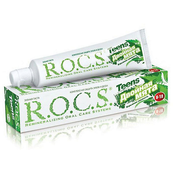Зубная паста для подростков Teens (8-18 лет) Двойная мята, взрывная свежесть, 74гр., ROCS