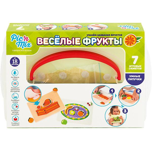 Игра Веселые фрукты, PicnMixОкружающий мир<br>Игра Веселые фрукты - пазл-липучка от PicnMix. В процессе игры ребенку предстоит наклеить нужные элементы на соответствующие карточки и изучить названия и особенности фруктов. Эта игра отлично развивает память, мелкую моторику, цветовое восприятие и кругозор. С игрой Веселые фрукты от PicnMix ваш малыш проведет время с пользой!<br><br>Дополнительная информация:<br>Количество полей: 7<br>Материал: полипропилен<br>Размер упаковки: 24х16х5 см<br>Вес: 365 грамм<br><br>Игру Веселые фрукты от PicnMix можно приобрести в нашем интернет-магазине.<br><br>Ширина мм: 250<br>Глубина мм: 52<br>Высота мм: 160<br>Вес г: 310<br>Возраст от месяцев: 18<br>Возраст до месяцев: 36<br>Пол: Унисекс<br>Возраст: Детский<br>SKU: 5008790