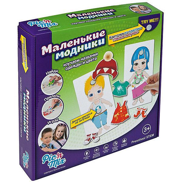 Игра Маленькие модники, PicnMixОкружающий мир<br>Игра Маленькие модники - пазл-липучка от PicnMix. В процессе игры ребенку предстоит наклеить нужные элементы на соответствующие карточки и изучить названия одежды и понять для какой погоды подходит каждый предмет. Эта игра отлично развивает память, мелкую моторику, цветовое восприятие и кругозор. С игрой Маленькие модники от PicnMix ваш малыш проведет время с пользой!<br><br>Дополнительная информация:<br>Количество полей: 2<br>Материал: полиэстер<br>Размер упаковки: 24х16х5 см<br>Вес: 365 грамм<br><br>Игру Маленькие модники от PicnMix можно приобрести в нашем интернет-магазине.<br><br>Ширина мм: 250<br>Глубина мм: 52<br>Высота мм: 160<br>Вес г: 320<br>Возраст от месяцев: 18<br>Возраст до месяцев: 36<br>Пол: Унисекс<br>Возраст: Детский<br>SKU: 5008791