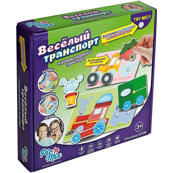 Игра Веселыей транспорт, PicnMixОкружающий мир<br>Игра Веселый транспорт - пазл-липучка от PicnMix. В процессе игры ребенку предстоит наклеить нужные элементы на соответствующие карточки и названия и предназначение наземного транспорта. Эта игра отлично развивает память, мелкую моторику, цветовое восприятие и кругозор. С игрой Веселый транспорт от PicnMix ваш малыш проведет время с пользой!<br><br>Дополнительная информация:<br>Количество полей: 5<br>Материал: полипропилен<br>Размер упаковки: 24х16х5 см<br>Вес: 375 грамм<br><br>Игру Веселый транспорт от PicnMix можно приобрести в нашем интернет-магазине.<br><br>Ширина мм: 250<br>Глубина мм: 52<br>Высота мм: 160<br>Вес г: 310<br>Возраст от месяцев: 18<br>Возраст до месяцев: 36<br>Пол: Унисекс<br>Возраст: Детский<br>SKU: 5008792