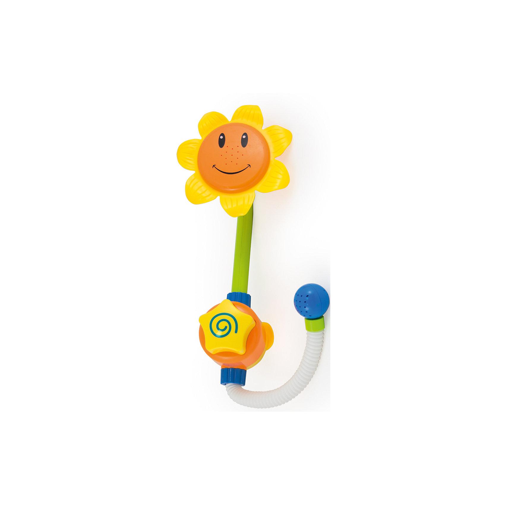 Игрушка для ванны Подсолнух, PicnMixЛейки и поливалки<br>Игрушка для ванны Подсолнух от PicnMix, несомненно, понравится и ребенку, и взрослым. Прикрепите цветок на ванну с помощью присосок и нажмите на кнопку звездочку - маленький душ готов! Подсолнух не только превратит купание в веселую игру, но и поможет развить мелкую моторику и понимание причинно-следственных связей. С ярким подсолнухом водные процедуры станут еще интереснее!<br><br>Дополнительная информация:<br>Батарейки не требуются<br>Материал: пластик<br>Размеры: 41х26 см<br><br>Игрушку для ванны Подсолнух от PicnMix  вы можете приобрести в нашем интернет-магазине.<br><br>Ширина мм: 210<br>Глубина мм: 130<br>Высота мм: 415<br>Вес г: 590<br>Возраст от месяцев: 18<br>Возраст до месяцев: 60<br>Пол: Унисекс<br>Возраст: Детский<br>SKU: 5008805