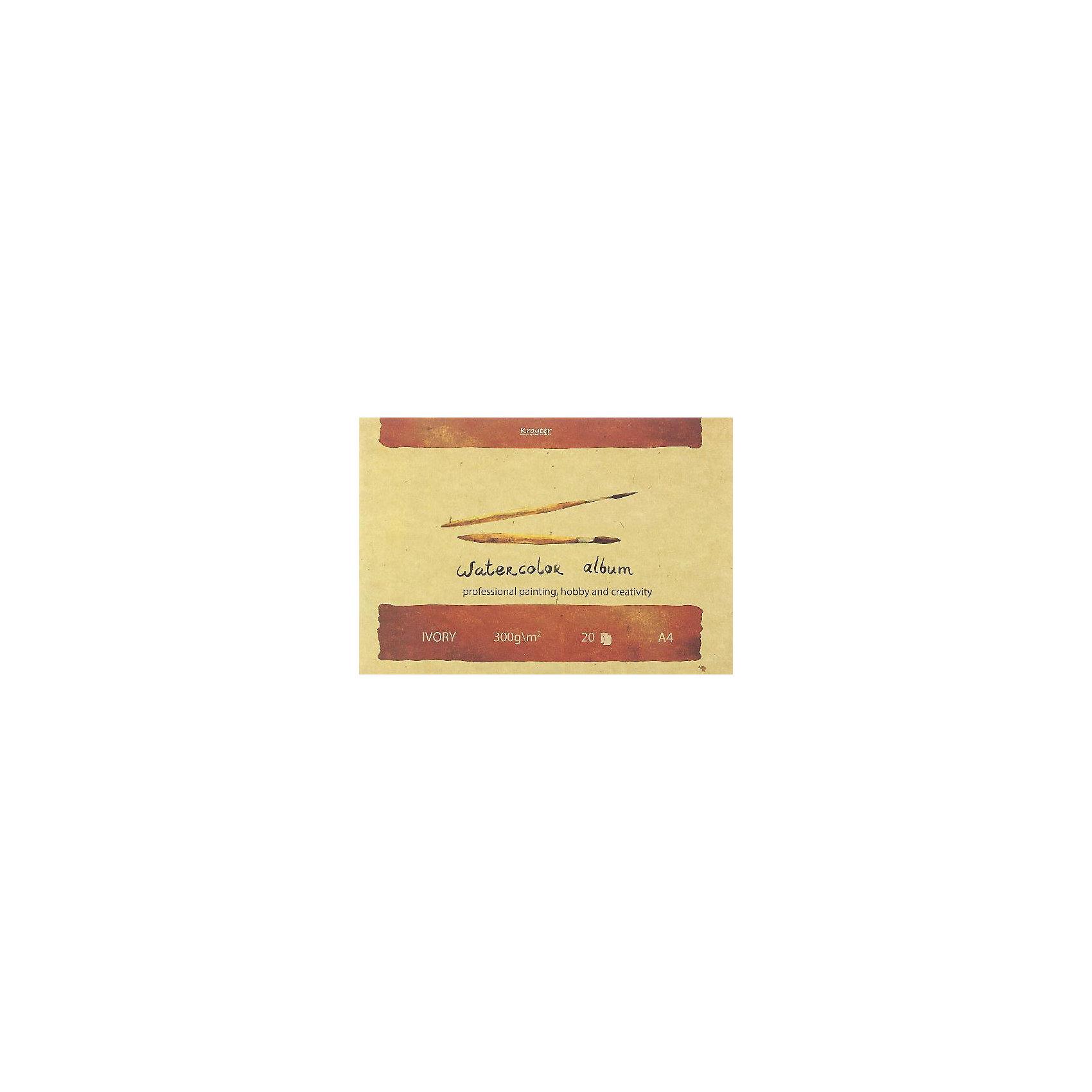 Альбом для акварели А4, 20л.Альбом для рисования акварелью А4 20 листов «Слоновая кость» на картонном планшете, склейка. Обложка высококачественный картон повышенной плотности 300 гр./м. Стильный, современный дизайн. Внутренний блок изготовлен из бумаги для водорастворимых красок, чисто целюлозной плотностью 300 гр./м., тон бумаги светло желтый «Слоновая кость» с мелким зерном. Предназначен для рисования всеми видами водорасстворимых красок.<br>Блок склеен таким образом, что позволяет изымать листы из него без разрушения блока. Подложка их твердого картона позволяет использовать альбом вне класса или дома.<br><br>Ширина мм: 300<br>Глубина мм: 10<br>Высота мм: 210<br>Вес г: 425<br>Возраст от месяцев: 24<br>Возраст до месяцев: 420<br>Пол: Унисекс<br>Возраст: Детский<br>SKU: 5009250