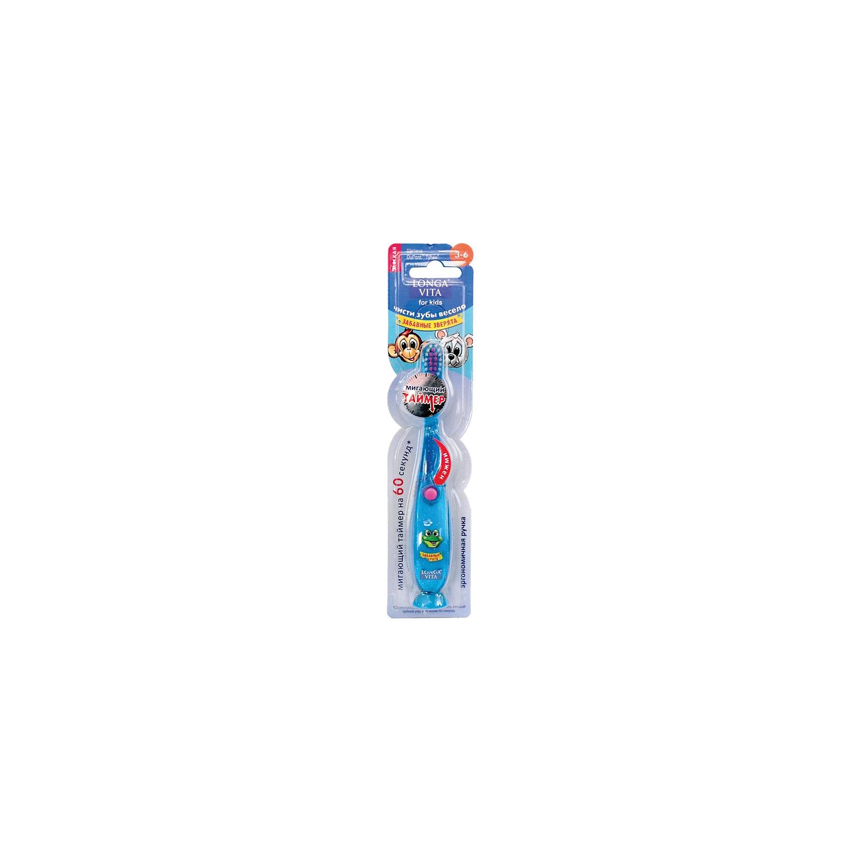 """ФОТО longa vita Мигающая зубная щётка на присоске """"Забавные зверята"""", 3-6 лет longa vita, синий"""