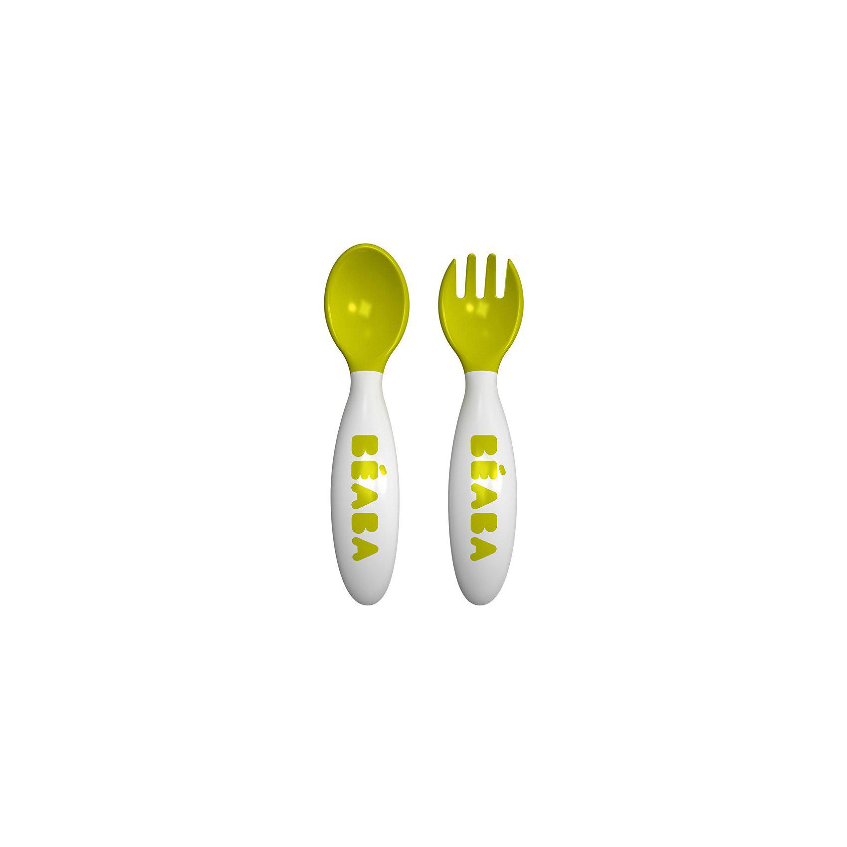 Набор столовых приборов (вилка, ложка), Beaba, салатовыйНабор столовых приборов (вилка, ложка), салатовый от знаменитого французского бренда товаров для детей Beaba (Беаба). Этот симпатичный эргономичный набор придет по вкусу вашему непоседе, удобные ручки, которые не скользят и позволяют малышу держать приборы как в левой, так и в правой ручке. Закругленные безопасные вилочка и ложка не повредят ротик малыша, не нагреваются от еды и идут в комплекте с коробочкой-чехлом, чтобы можно было взять приборы в дорогу. Приятный салатовый цвет приборов понравятся малышу и он захочет принимать пищу с ними снова и снова.<br>Дополнительная информация:<br><br>- Состав: пластик<br>- Можно мыть в посудомоечной машине        <br><br>Набор столовых приборов (вилка, ложка), салатовый, Beaba (Беаба) можно купить в нашем интернет-магазине.<br>Подробнее:<br>• Для детей в возрасте: от 7 месяцев<br>• Номер товара: 5010890<br>Страна производитель: Китай<br><br>Ширина мм: 70<br>Глубина мм: 20<br>Высота мм: 150<br>Вес г: 70<br>Возраст от месяцев: 8<br>Возраст до месяцев: 24<br>Пол: Унисекс<br>Возраст: Детский<br>SKU: 5010890