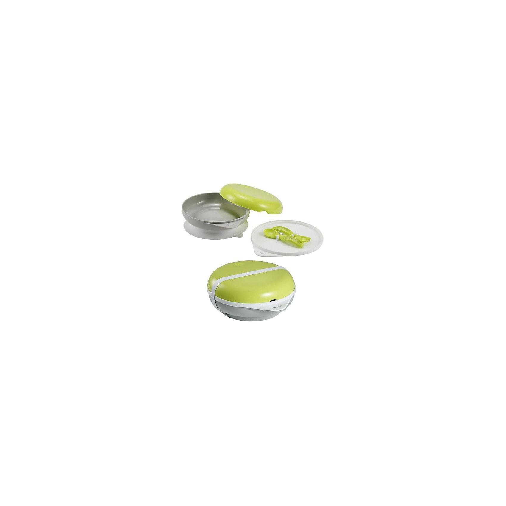 Набор посуды: тарелка+крышка, вилка+ложка, Beaba, салатовыйПосуда для малышей<br>Набор посуды: тарелка+крышка, вилка+ложка, салатовый от знаменитого французского бренда товаров для детей Beaba (Беаба). Этот симпатичный и эргономичный набор придет по вкусу вашему непоседе и будет очень полезен в поездках. Глубокая тарелочка имеет удобную резинку у основания, не давая скользить по поверхности. В крышке для тарелки имеются специальные крепления для ложечки и вилочки. Ложка и вилка закрываются салатовой крышкой. Ложка и вилка представлены в удобном и безопасном дизайне, не давая им выскальзывать из ручек и благодаря закругленным частям, оберегая от повреждения маленький ротик. В основании набора специальны вкладыш, позволяющий уберечь тепло еды, этот вкладыш необходимо разогреть в микроволновой печи в течение 30 секунд или 2х минут в паровой бане, затем необходимо прикрутить его к основанию набора. Прекрасный выбор для малышей, ведь они достойны самого лучшего!<br>Дополнительная информация:<br><br>- В набор входит: глубокая тарелка с подставкой, крышка с креплениями, закрывающая крышка, вилка, ложка, резиночка для плотного закрытия.<br>- Состав: пластик<br>- Размер: 120, 240, 420 мл.<br>- Можно мыть в посудомоечной машине или стерилизовать <br><br><br>Набор посуды: тарелка+крышка, вилка+ложка, салатовый, Beaba (Беаба) можно купить в нашем интернет-магазине.<br>Подробнее:<br>• Для детей в возрасте: от 7 месяцев<br>• Номер товара: 5010896<br>Страна производитель: Китай<br><br>Ширина мм: 190<br>Глубина мм: 80<br>Высота мм: 220<br>Вес г: 600<br>Возраст от месяцев: 6<br>Возраст до месяцев: 24<br>Пол: Унисекс<br>Возраст: Детский<br>SKU: 5010896