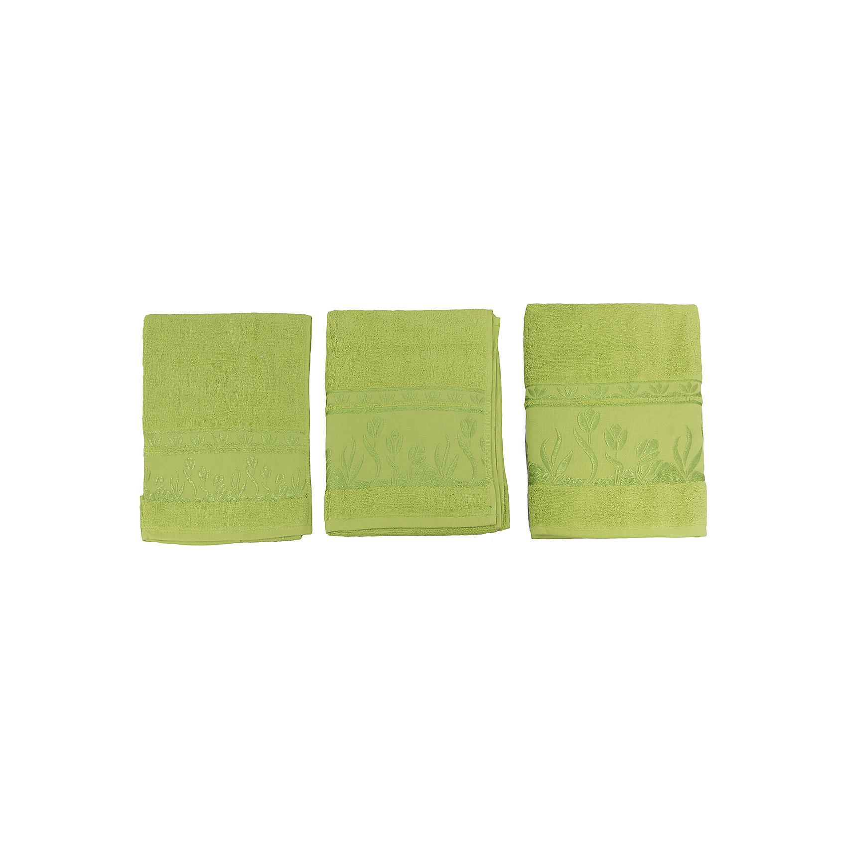 Комплект из 3 махровых полотенец Tulips, Португалия, зеленыйКомплект махровых полотенец Tulips идеально подойдет для всей семьи. В комплект входят 3 полотенца разных размеров. Все изделия очень мягкие, изготовлены из качественного хлопка и очень приятны телу. Украшены красивым орнаментом по краю. Отличный вариант для вашей ванной комнаты!<br><br>Дополнительная информация:<br>Материал: 100% хлопок<br>Цвет: зеленый<br>Размеры: 40х75; 50х100; 70х140 см<br>Торговая марка: Португалия<br><br>Вы можете купить комплект из 3-х махровых полотенец Tulips в нашем интернет-магазине.<br><br>Ширина мм: 500<br>Глубина мм: 500<br>Высота мм: 200<br>Вес г: 700<br>Возраст от месяцев: 0<br>Возраст до месяцев: 144<br>Пол: Унисекс<br>Возраст: Детский<br>SKU: 5010908